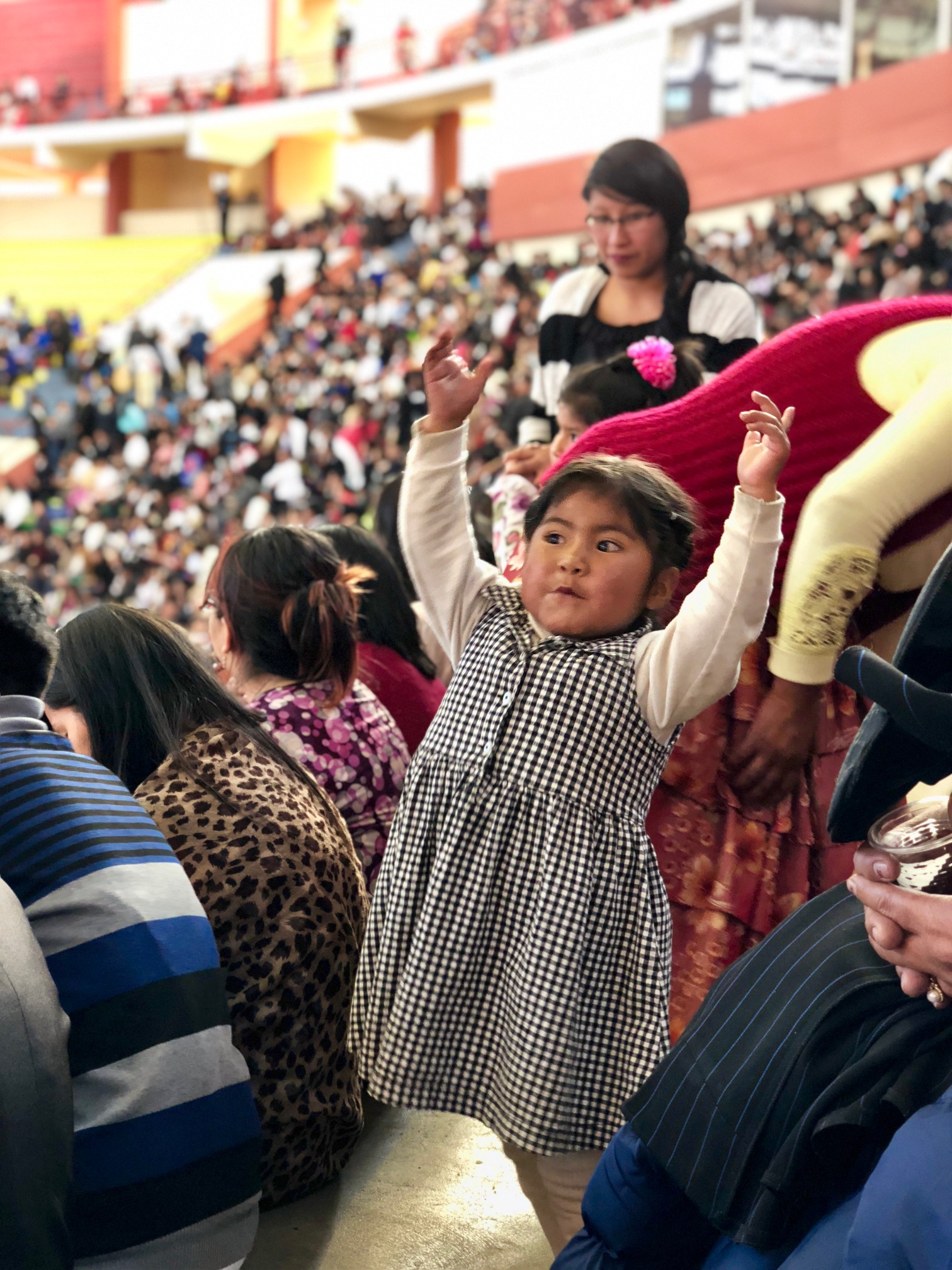 Crowds gathered in the Polideportivo Heroes de Octubre in El Alto on Sunday, Oct. 21 to hear President Nelson speak.