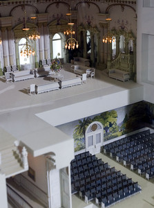 An exhibit featuring a 1:32 scale replica of the Salt Lake Temple is on display in the South Visitors Center on Temple Square.