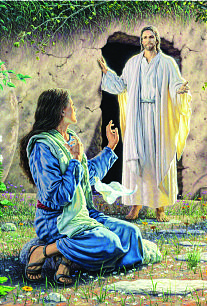 """In the painting """"My Redeemer Lives,"""" by Roger Loveless, the Resurrected Christ appears to Mary Magdalene."""