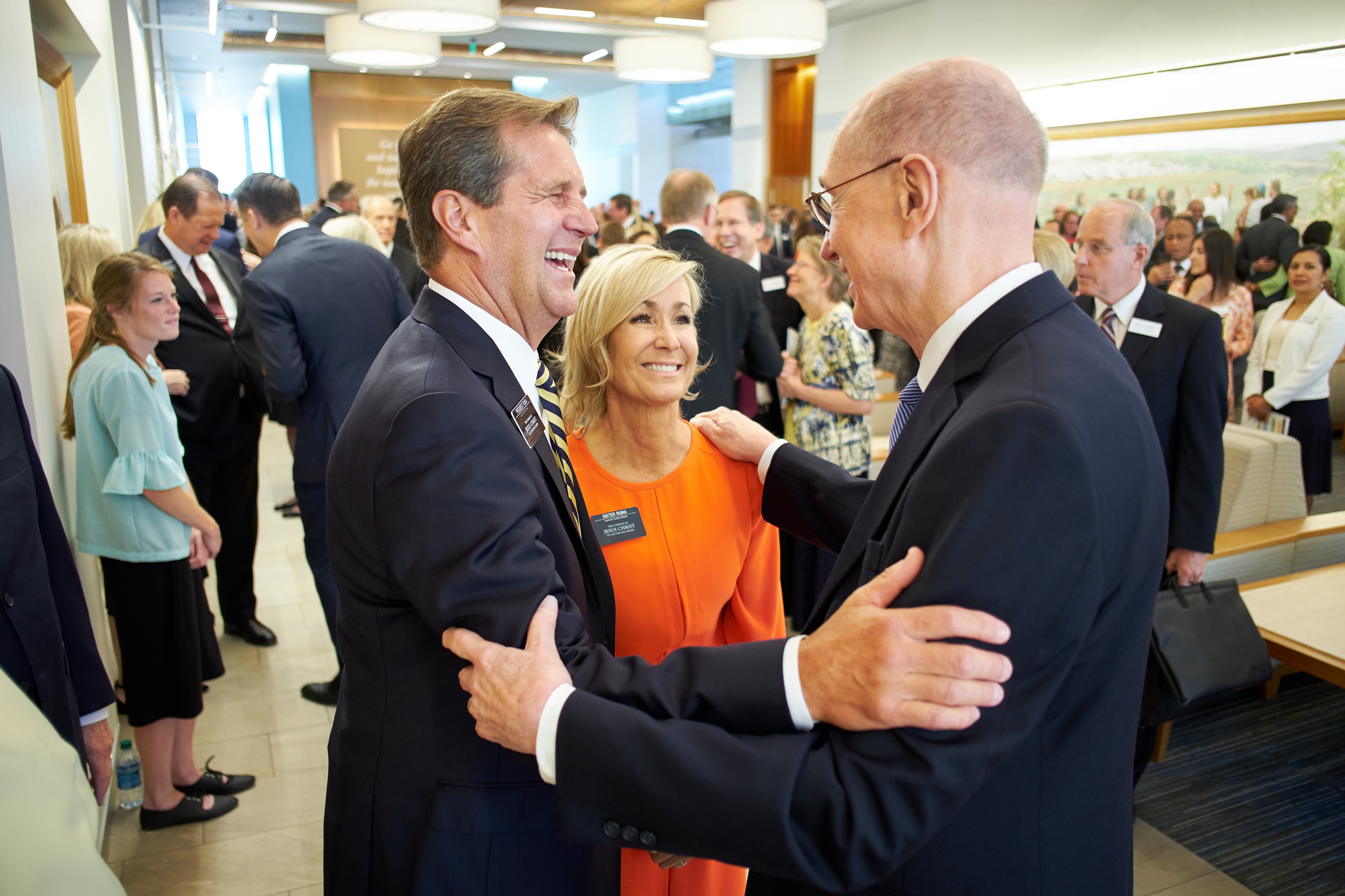 President Henry B. Eyring, second counselor in the First Presidency, greets President R. Scott Runia and his wife, Sister Tammy W. Runia, during the 2018 Mission Leadership Seminar held in the Provo MTC June 24-26.