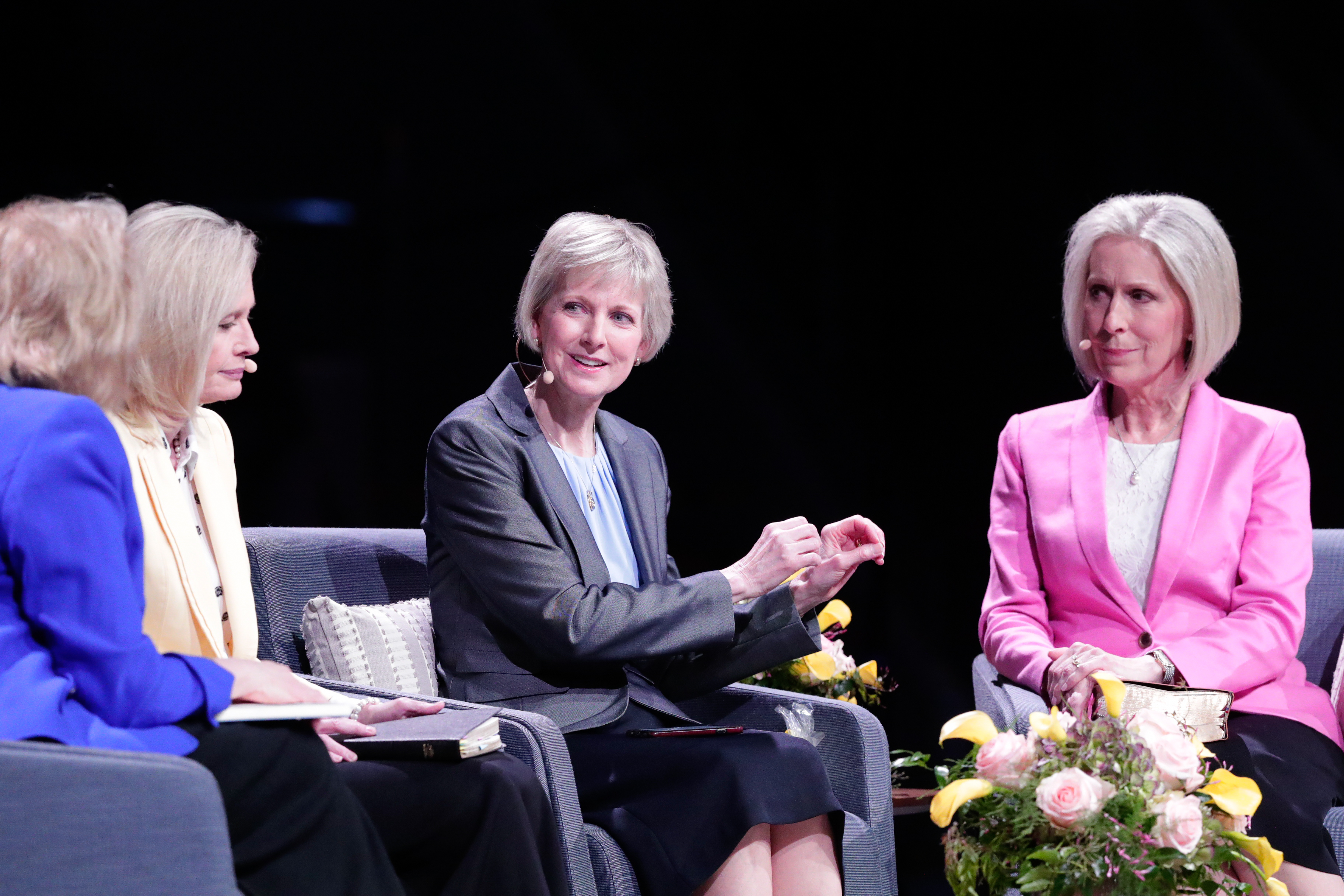Sister Bonnie H. Cordon, Sister Jean B. Bingham and Sister Joy D. Jones, with Sister Sheri Dew, left, moderating, participate in the first Sister-to-Sister event during the 2019 BYU Women's Conference, held in the Marriott Center at BYU in Provo, Utah, on May 3, 2019.