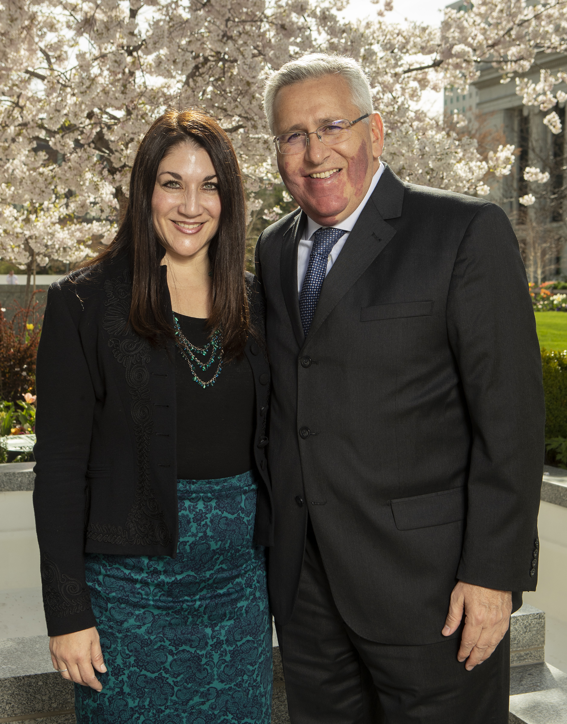 Sister Fabiana Bennett and Elder Ruben V. Alliaud pose for photos at the Church office building in Salt Lake City on Monday, April 8, 2019. Elder Alliaud was called to be a General Authority Seventy during the April 2019 general conference.