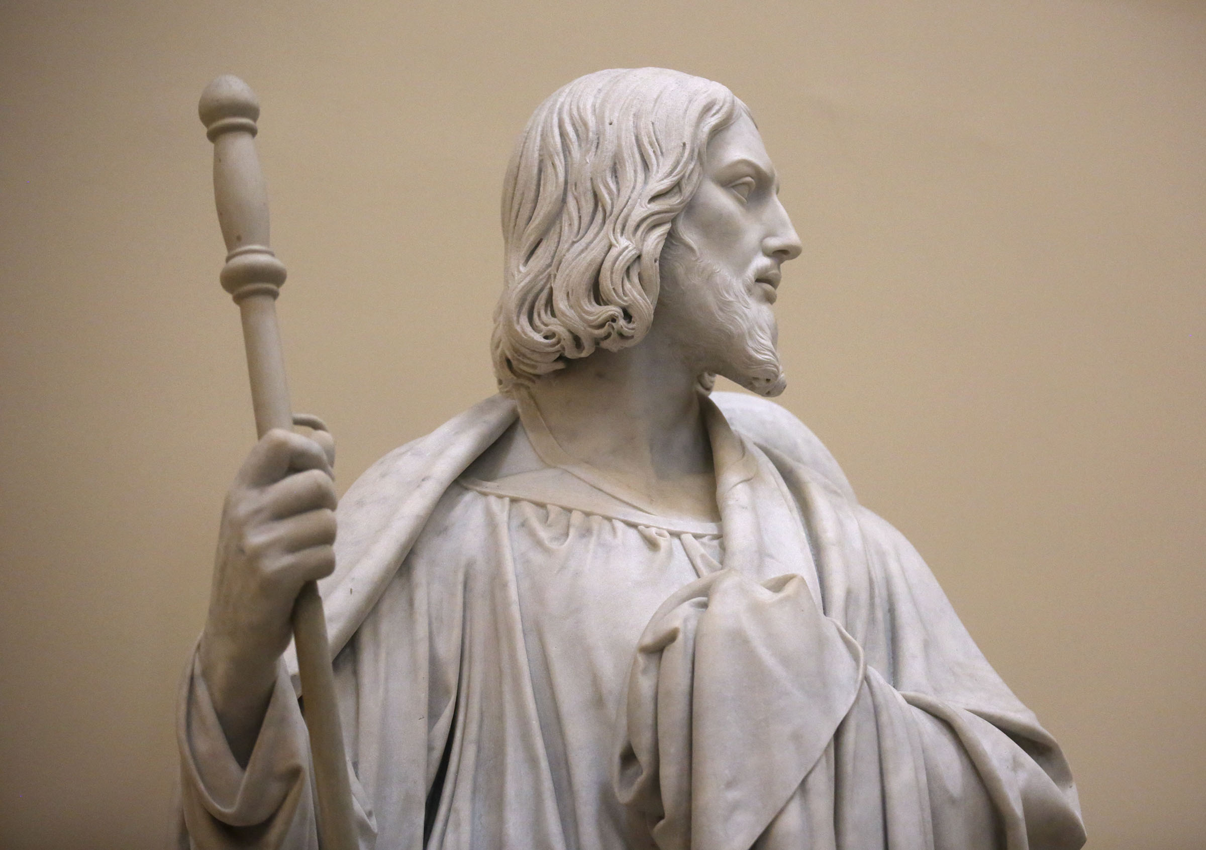 Bertel Thorvaldsen's statue of James the elder, one of the 12 apostles, holds a staff at the Church of Our Lady in Copenhagen, Denmark, on Tuesday, Nov. 13, 2018. The 12 apostles statues were carved out of Carrara marble between 1829 and 1848. Replicas of the statues are now on display in the Rome Temple Visitors' Center in Italy.