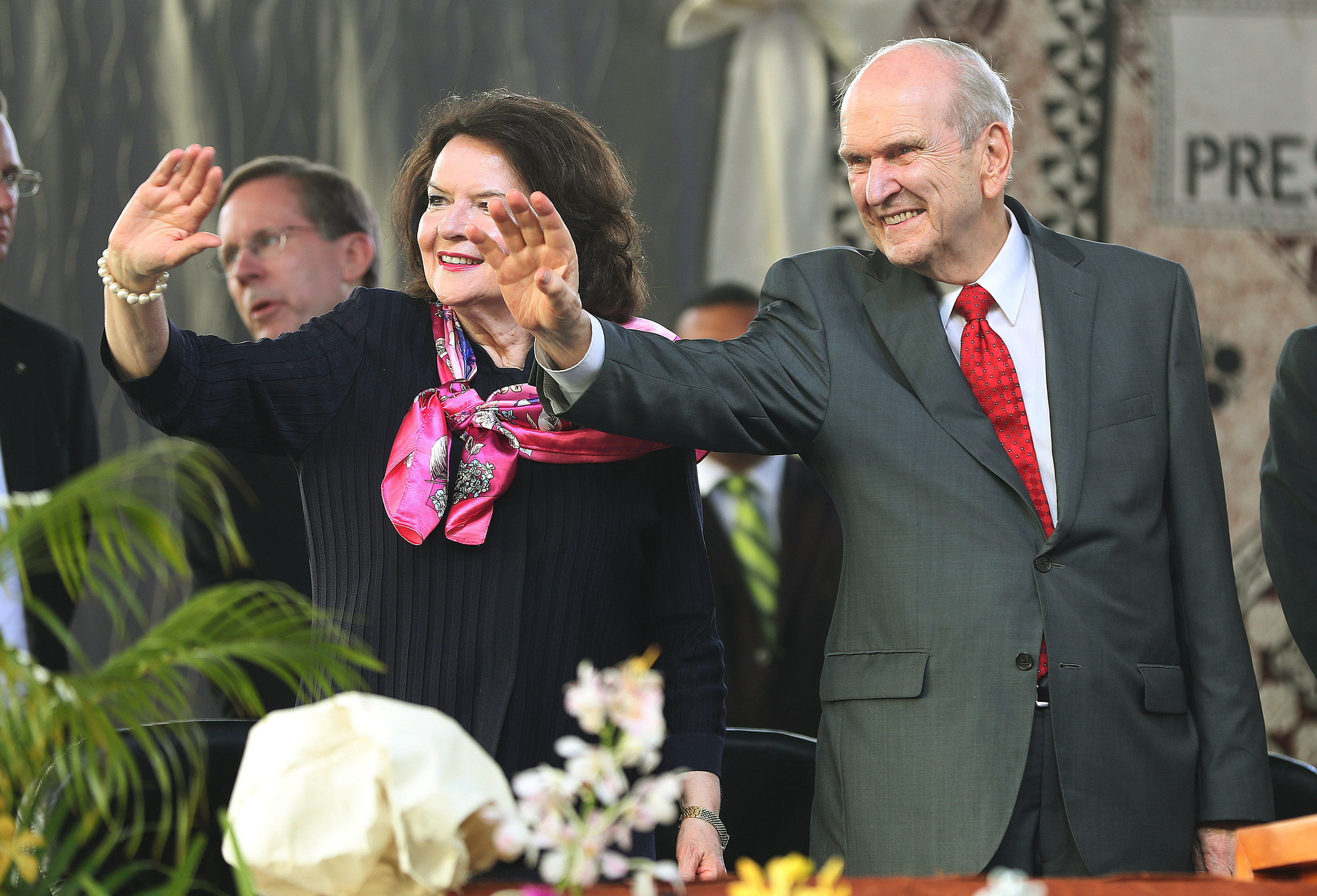 President Russell M. Nelson of The Church of Jesus Christ of Latter-day Saints and his wife, Sister Wendy Nelson, wave to attendees prior to a devotional at Ratu Cakobau Park stadium in Nausori, Fiji, on May 22, 2019.