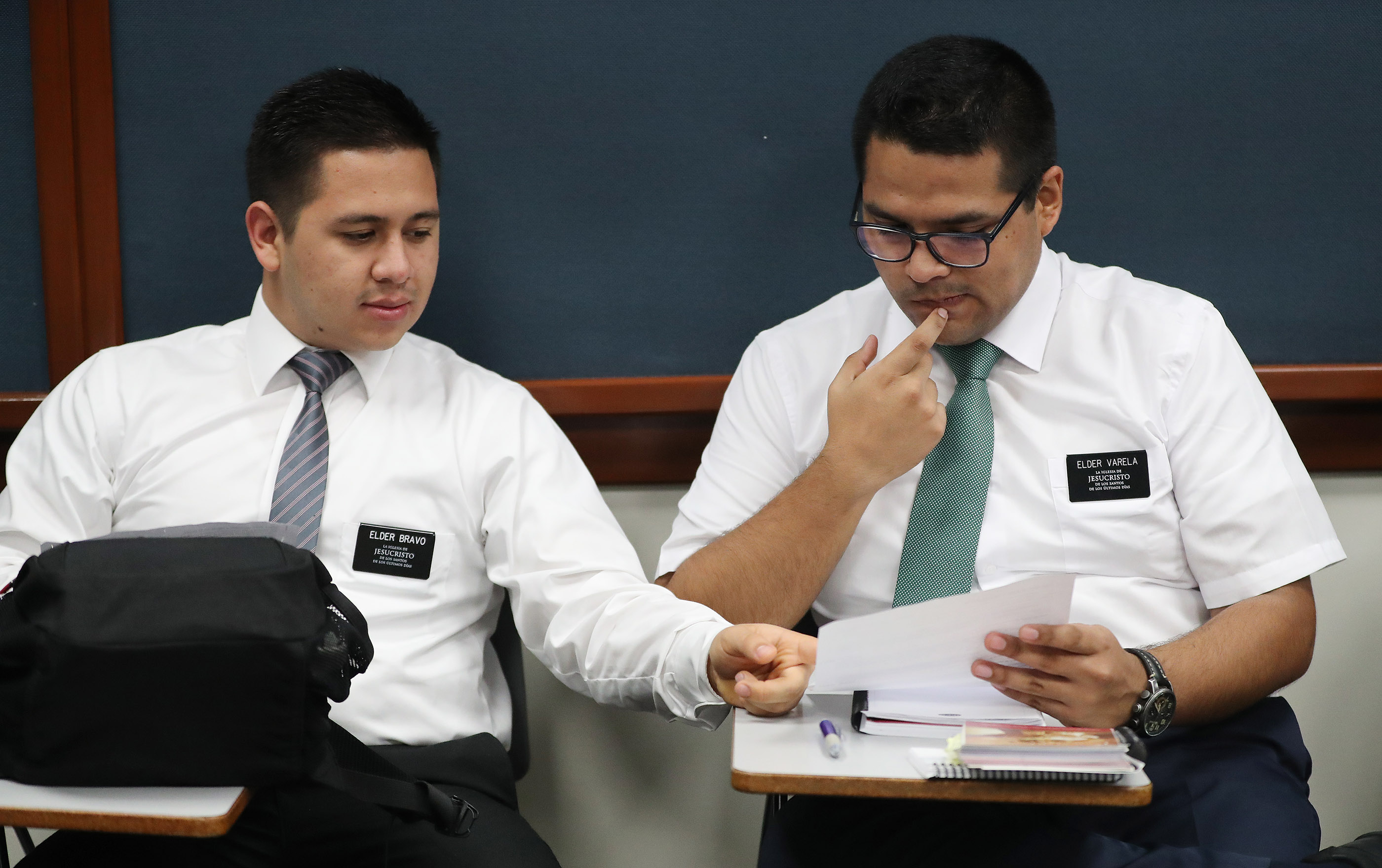 Elders Jamie Bravo and Julio Varela study at the Peru Missionary Training Center in Lima, Peru on Friday, Oct. 19, 2018.