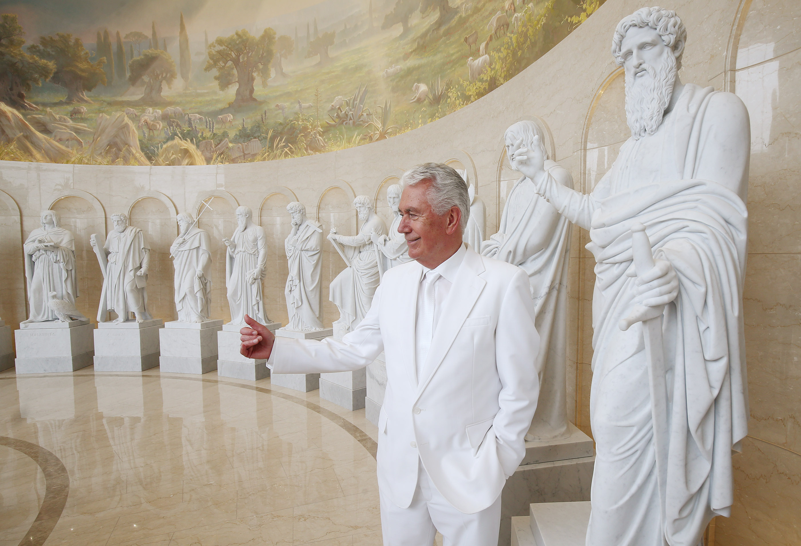 Elder Dieter F. Uchtdorf, of the Quorum of the Twelve Apostles of The Church of Jesus Christ of Latter-day Saints, looks over the Rome Italy Temple visitors center in Rome, Italy on Monday, March 11, 2019.