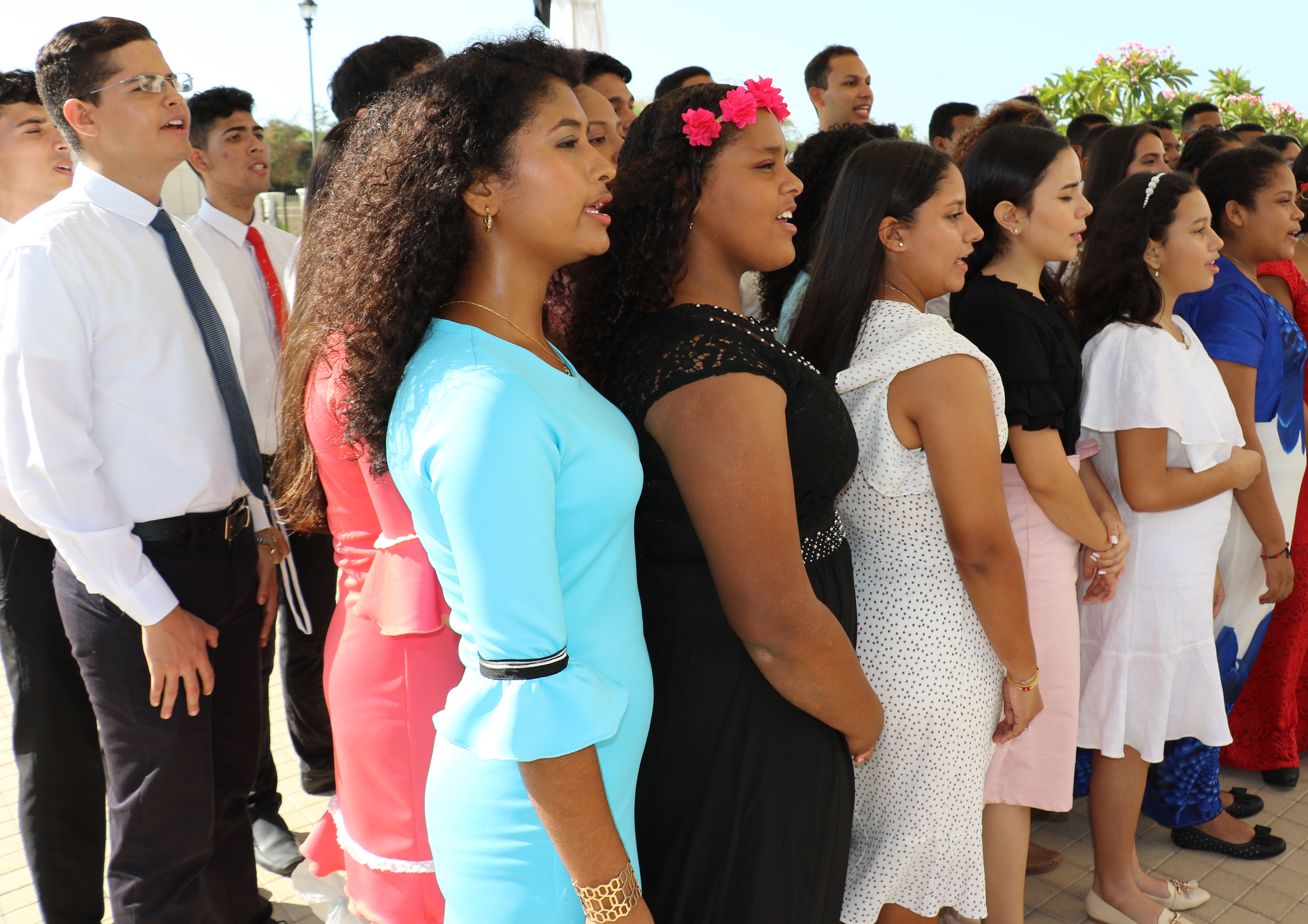 A choir performs at the cornerstone ceremony of the Barranquilla Colombia Temple on Sunday, Dec. 9, 2018.