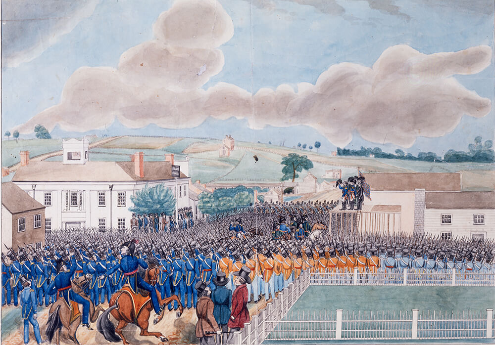 This 1845 painting, created after Joseph Smith's death, depicts the prophet with the Nauvoo Legion. It is considered the earliest known visual depiction of the Nauvoo Legion.
