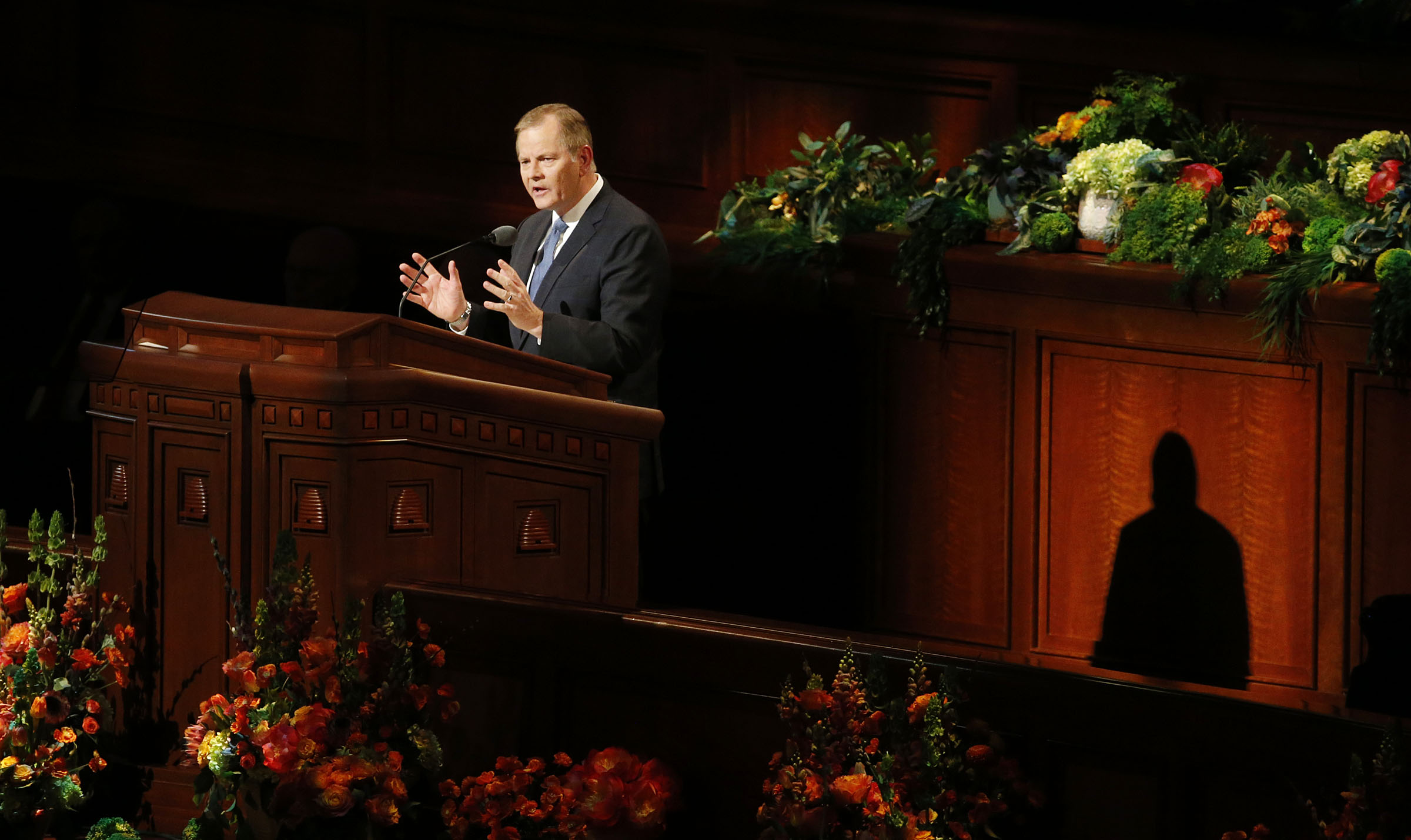 Elder Gary E. Stevenson of the Quorum of the Twelve Apostles speaks during the priesthood session of the 189th Annual General Conference of The Church of Jesus Christ of Latter-day Saints in the Conference Center in Salt Lake City on Saturday, April 6, 2019.