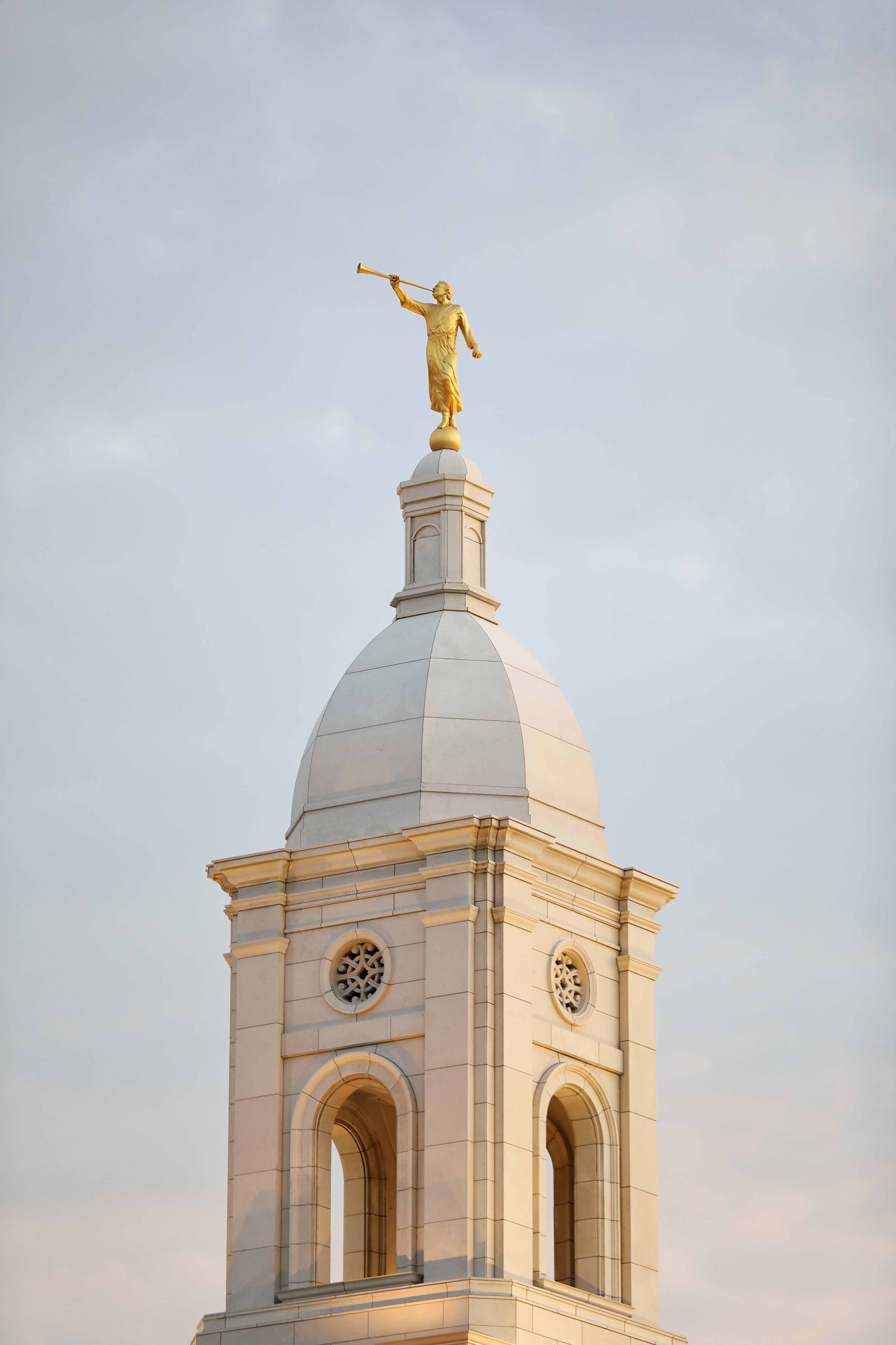 Statue of the angel Moroni on top of the Barranquilla Colombia Temple.