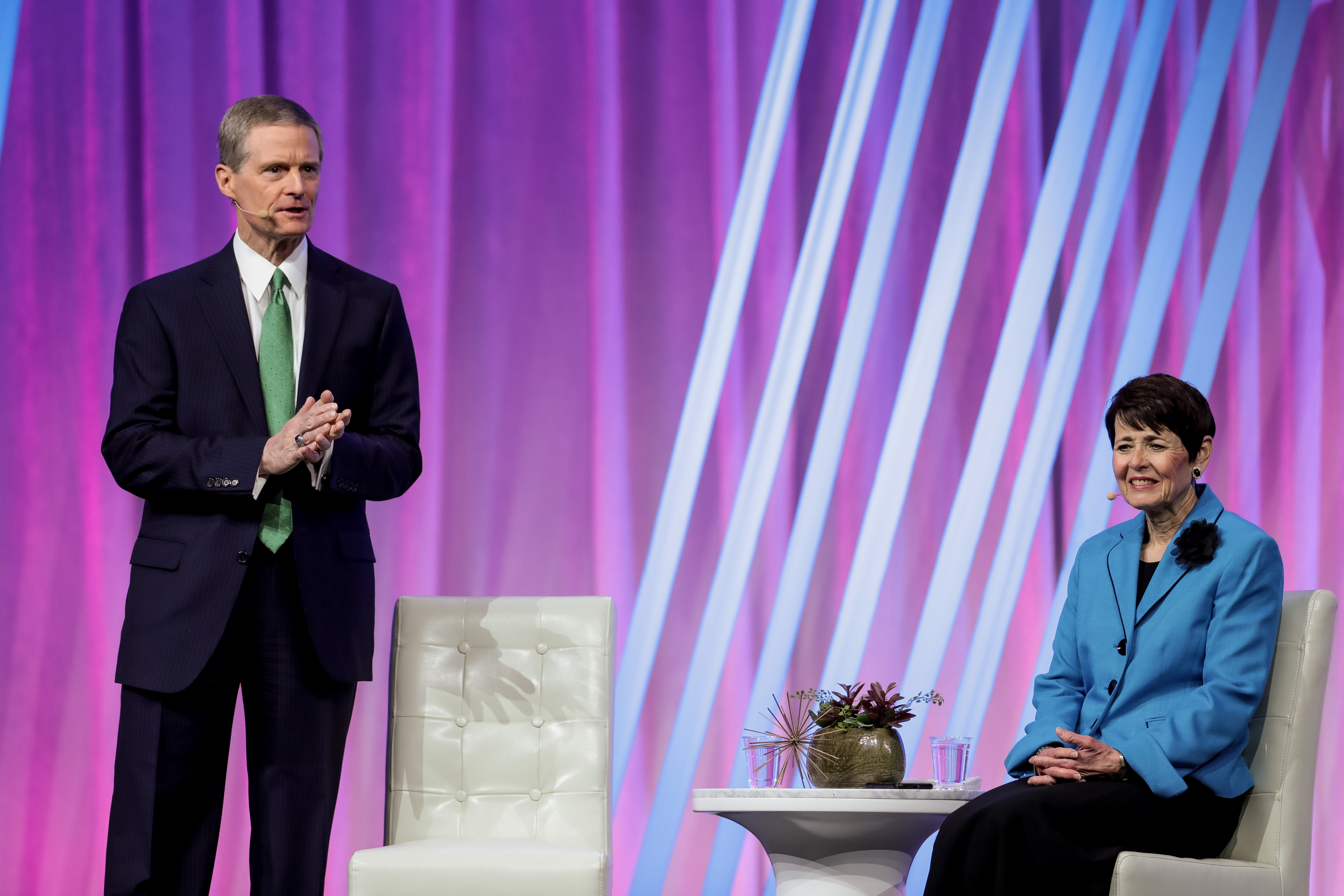 Elder David A. Bednar of the Quorum of the Twelve Apostles and his wife, Sister Susan Bednar, speak during the RootsTech conference at the Salt Palace in Salt Lake City on Saturday, March 2, 2019.