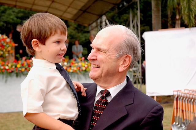 President Russell M. Nelson with a grandson.