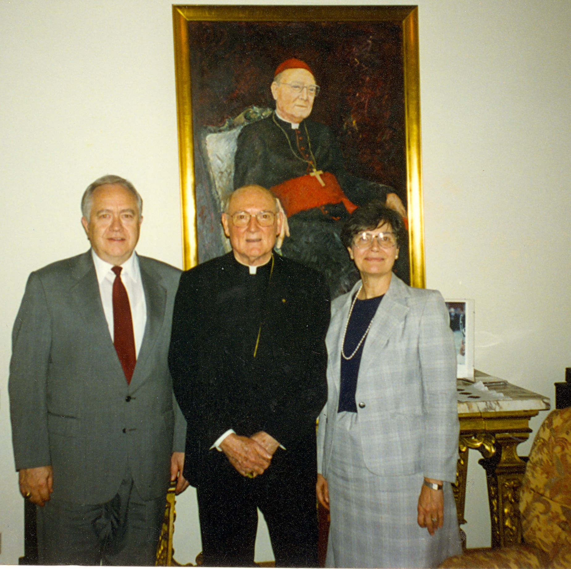 Elder V. Dallas Merrell left, and his wife, Karen, with Cardinal Edward Idris Cassidy, on the occasion of their first meeting at the Vatican in 1995. Elder Merrill's friendship with Cardinal Cassidy bore fruit in goodwill and improved relationships between the Catholic church and The Church of Jesus Christ of Latter-day Saints.