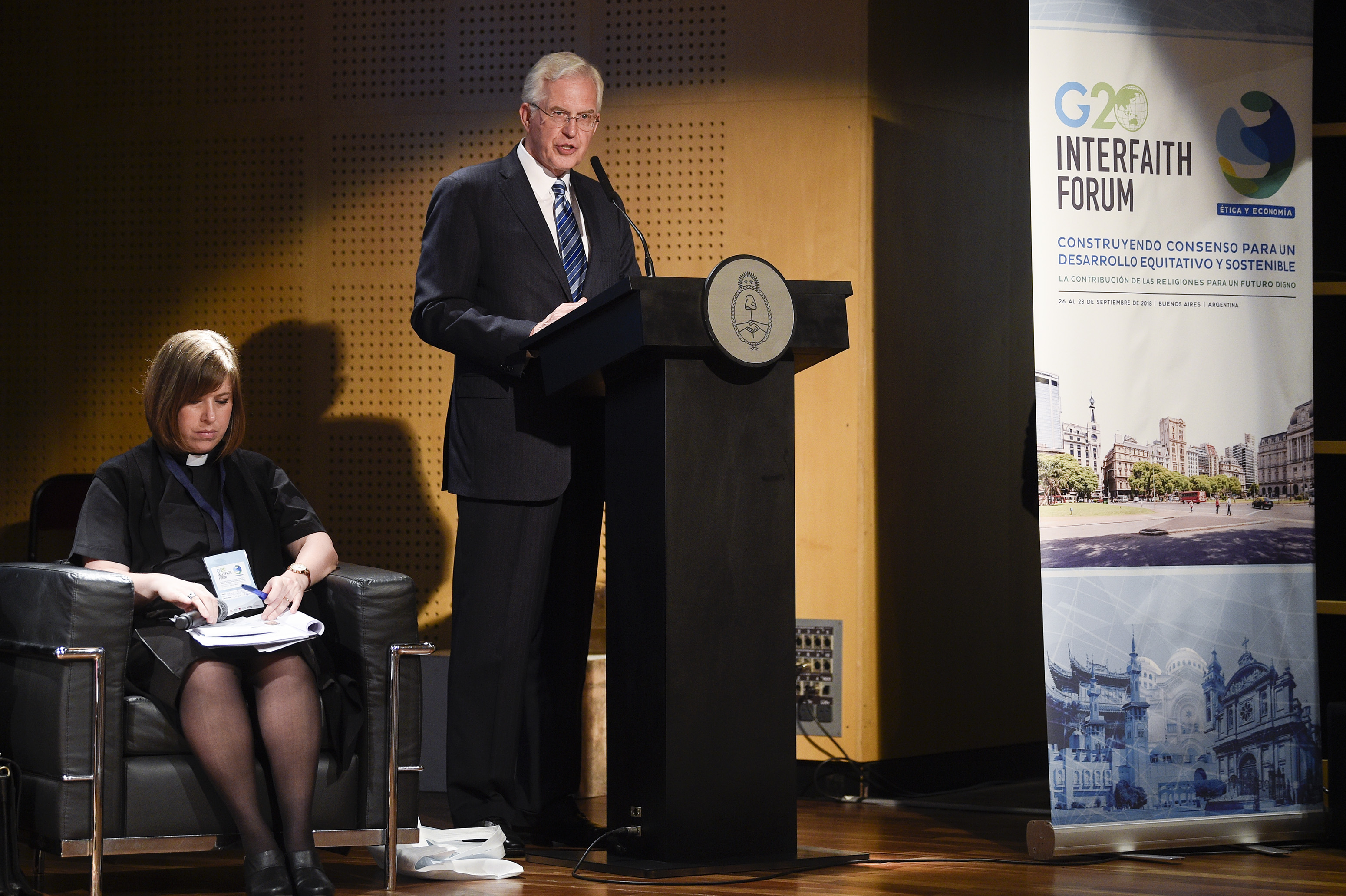 Elder D. Todd Christofferson of the Quorum of the Twelve Apostles speaks at the G20 Interfaith Forum in Buenos Aires, Argentina, on Wednesday, Sept. 26, 2018.