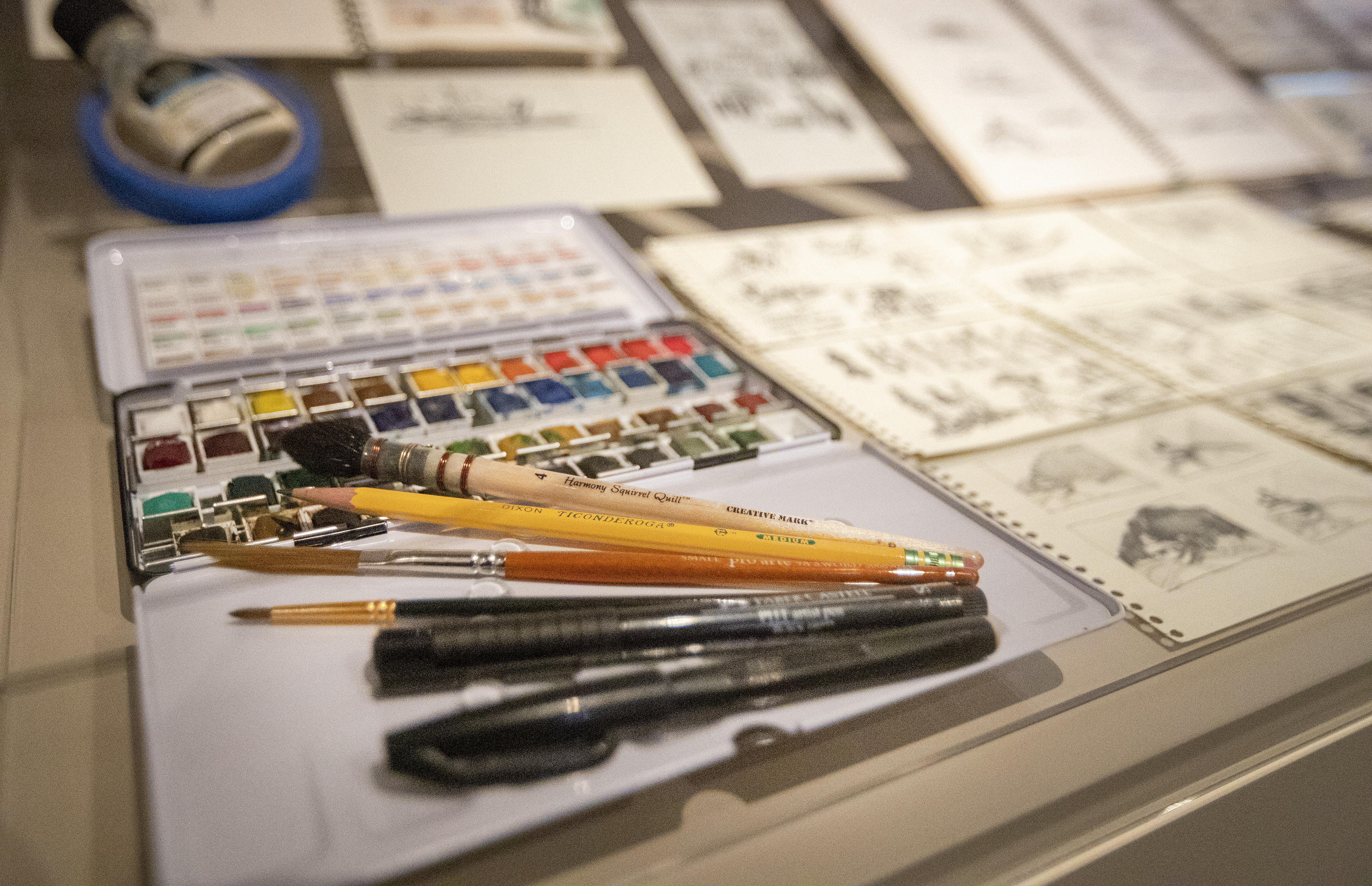 Watercolor supplies and sketching pencils along with a few sketches by President Henry B. Eyring are among the different pieces on display in a special exhibit at the Church History Museum in Salt Lake City.