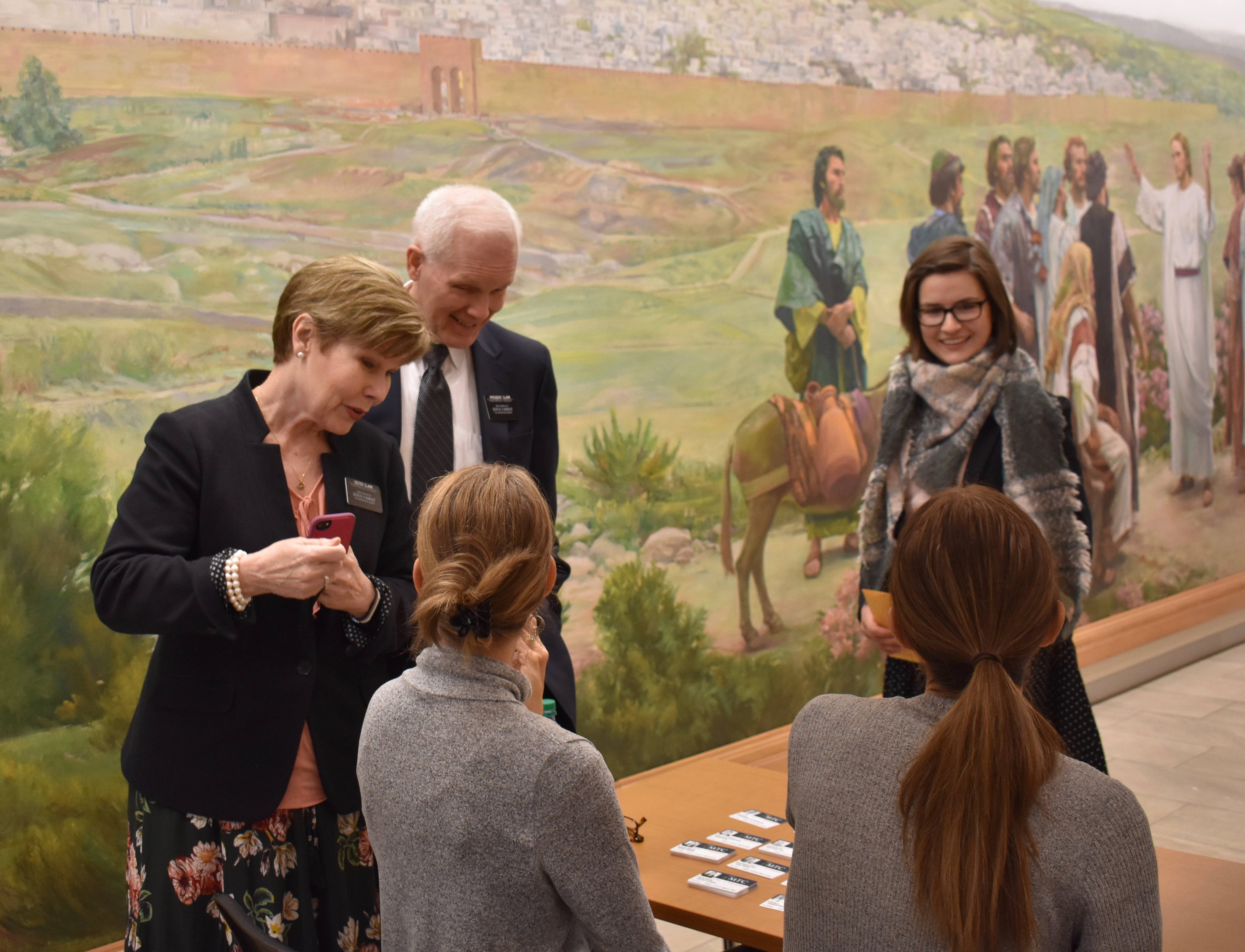 President Scott B. Clark and Sister Sandra Clark of the Philippines Missionary Training Center, pause to visit with Provo MTC volunteers helping to process arriving missionaries on Jan. 16, 2019. The Clarks were participating in the 2019 MTC Leadership Seminar, conducted Jan. 14-17 in Provo and Salt Lake City, Utah.