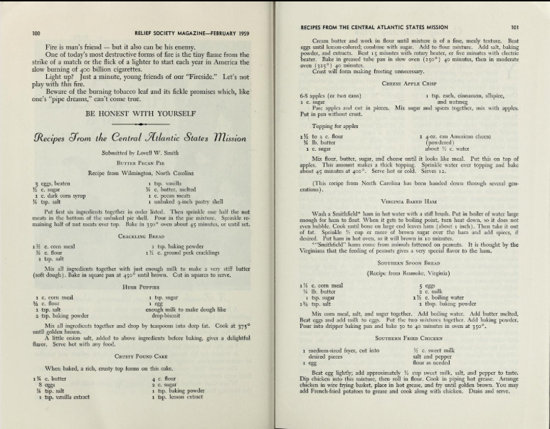 "A screenshot of the February 1959 issue of the Relief Society Magazine from archive.org, featuring ""Recipes From the Central Atlantic States Mission"" submitted by Lovell W. Smith."