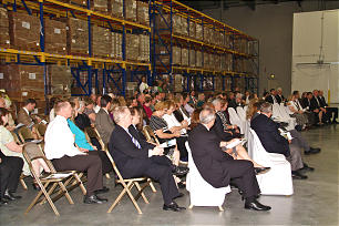 Church members attend the dedication of the Bishops' Central Storehouse in Mira Loma, Calif. Elder Douglas F. Higham of the Seventy presided at the event.