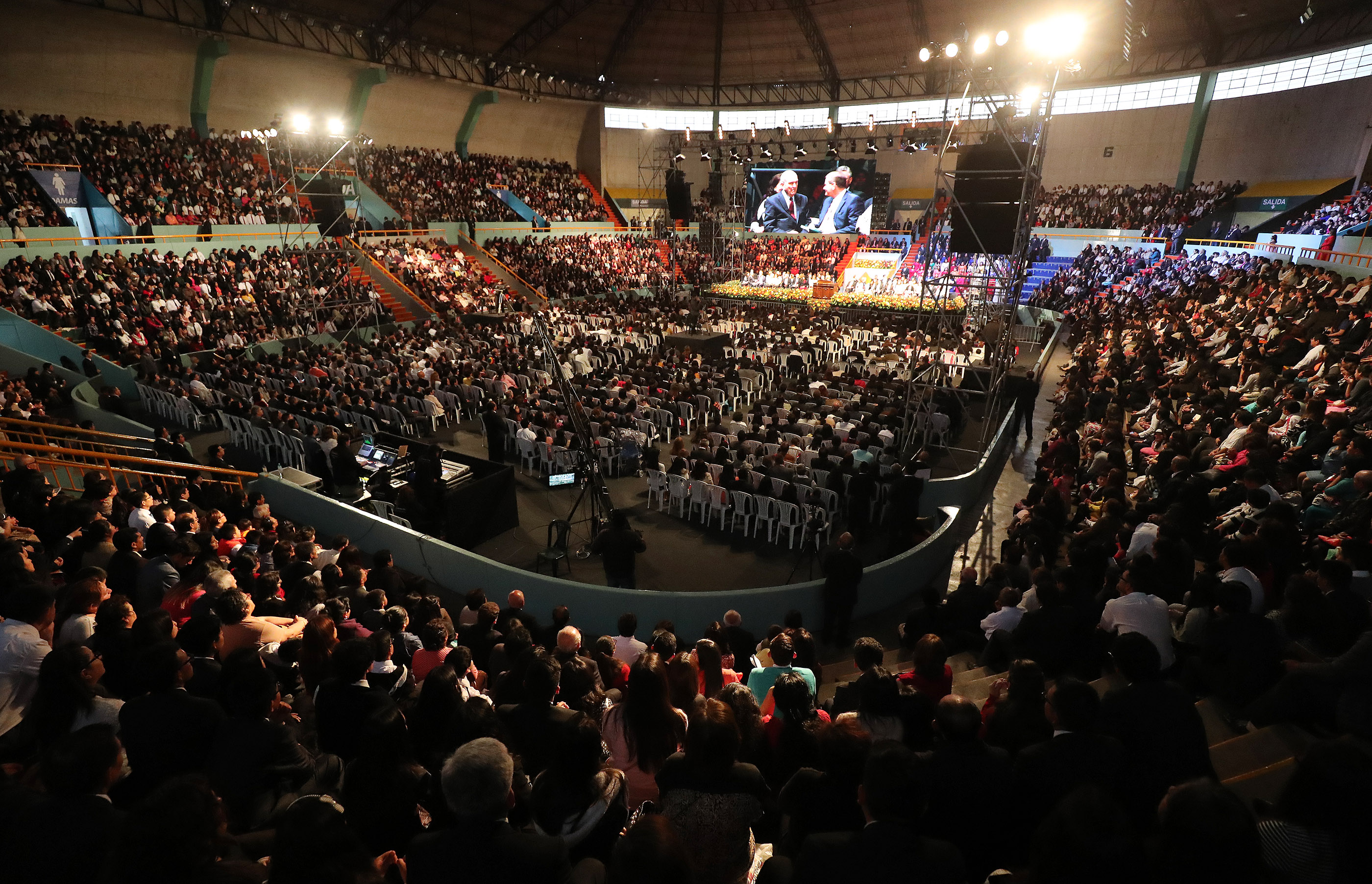 Attendees listen during a devotional with President Russell M. Nelson of The Church of Jesus Christ of Latter-day Saints in Lima, Peru, on Oct. 20, 2018.