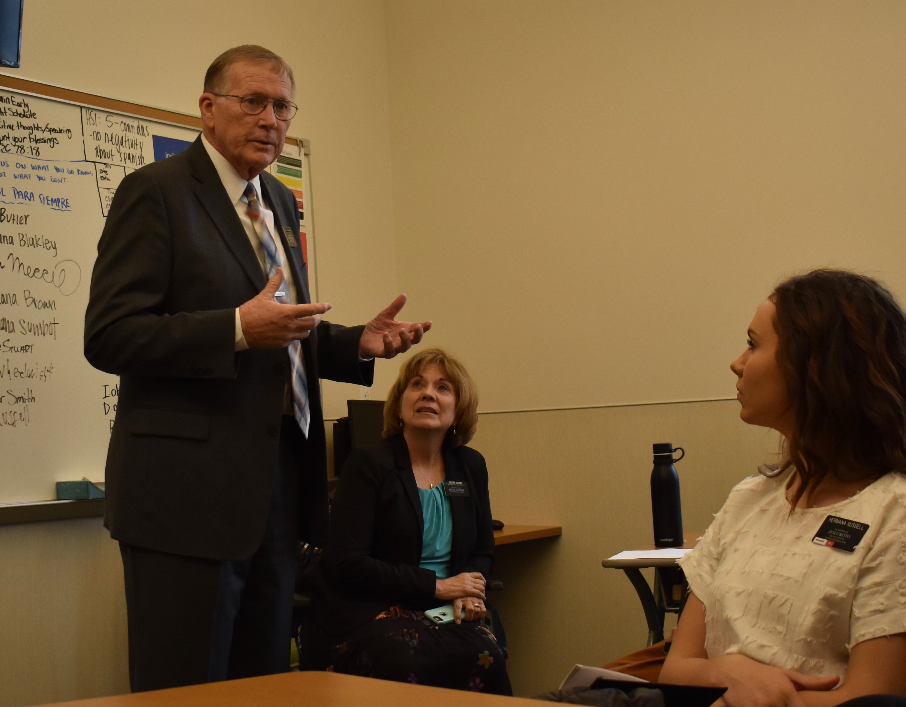 President Timothy M. Olson of the México Missionary Training Center, joined by his wife Sister Rose Ann Olson, speaks to a district of missionaries at the Provo MTC on Wednesday, Jan. 16, 2019. The Olsons were participating in the 2019 MTC Leadership Seminar, conducted Jan. 14-17 in Provo and Salt Lake City, Utah.