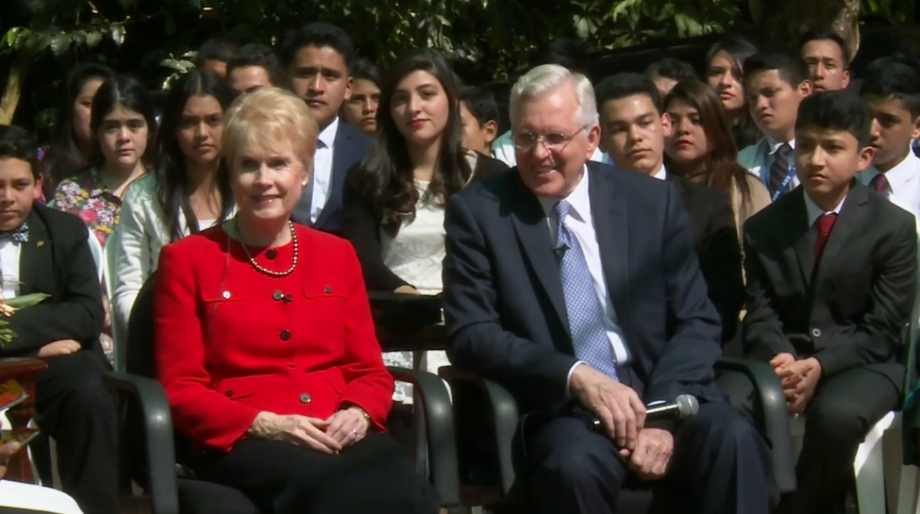 "Elder D. Todd Christofferson of the Quorum of the Twelve Apostles and his wife, Sister Kathy Christofferson, share wise counsel on Saturday, Dec. 10, 2016, from Guatemala City, Guatemala, during the first ever ""Face to Face"" event originating outside the United States. Elder and Sister Christofferson will speak in the final keynote address of the 2019 BYU Women's Conference on May 3, 2019."