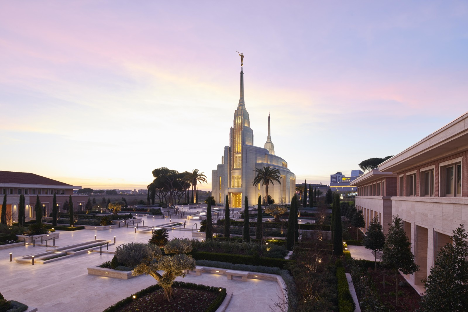 A view of the Rome Italy Temple and the Italian-style piazza on the temple grounds.