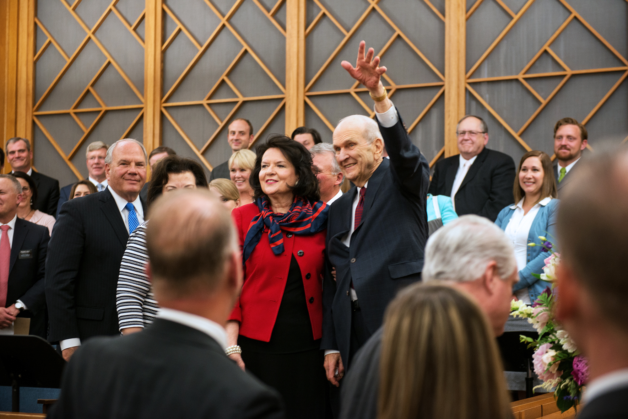 President Russell M. Nelson and his wife, Sister Wendy Nelson, speaks to members on June 8, 2018, in Edmonton, Alberta.