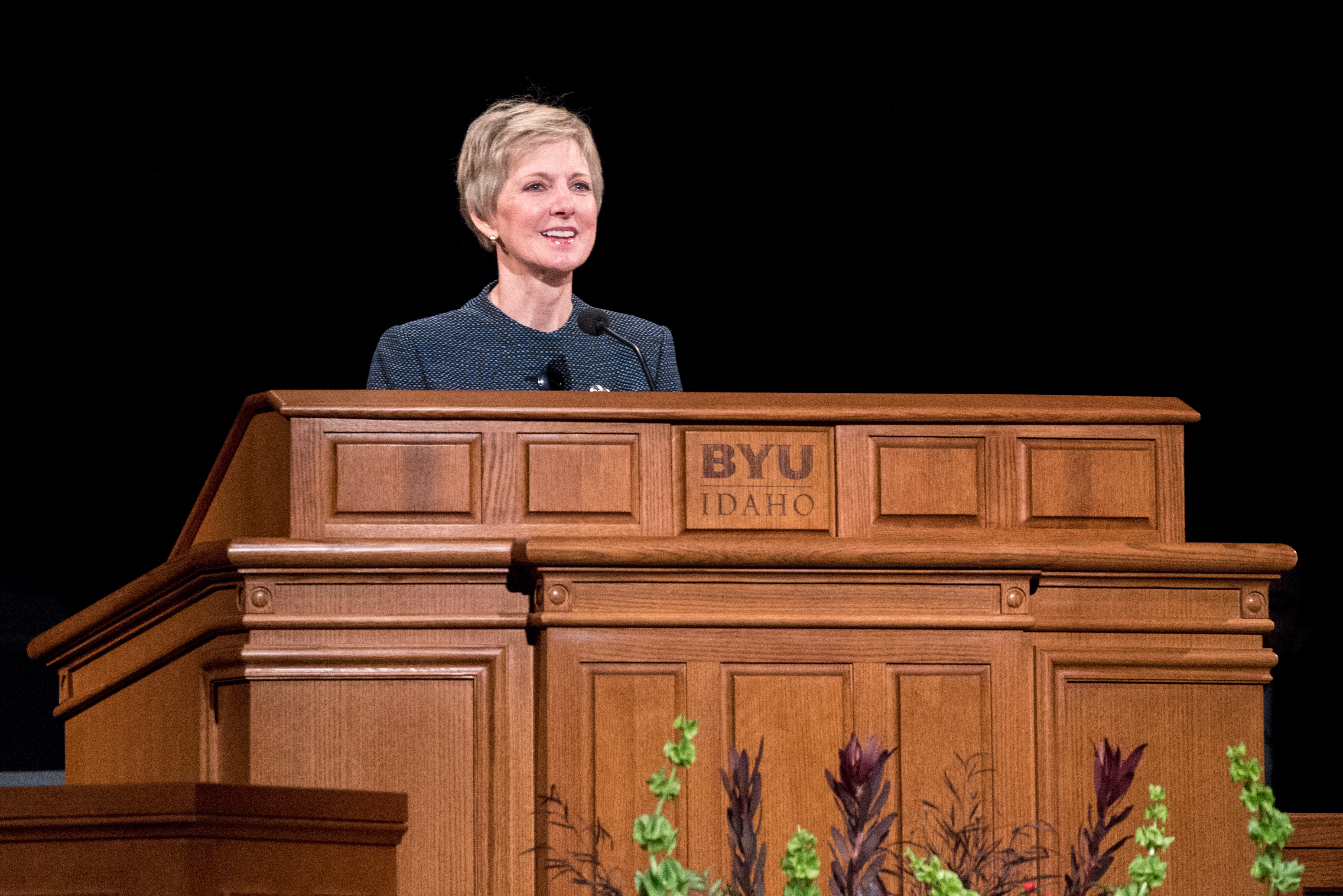 Sister Jean B. Bingham, Relief Society general president, speaks during a campus devotional in the BYU-Idaho Center on Nov. 27.