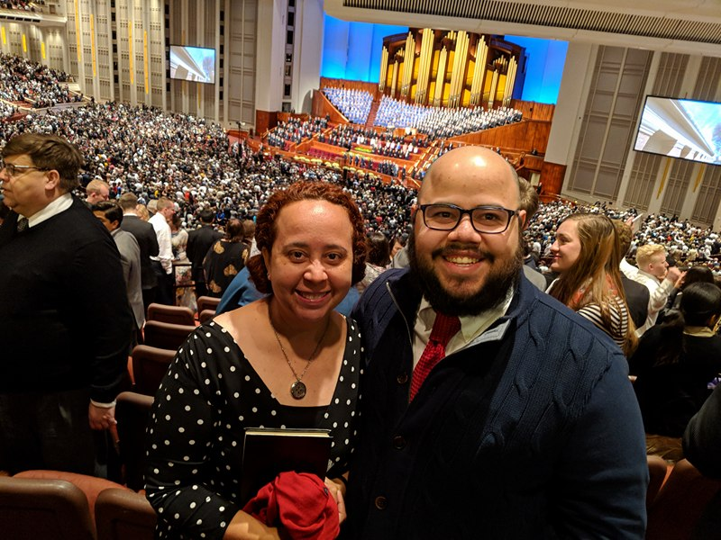 Rodolfo Avilés with his sister Jill Avilés in the Conference Center on March 31, 2018.