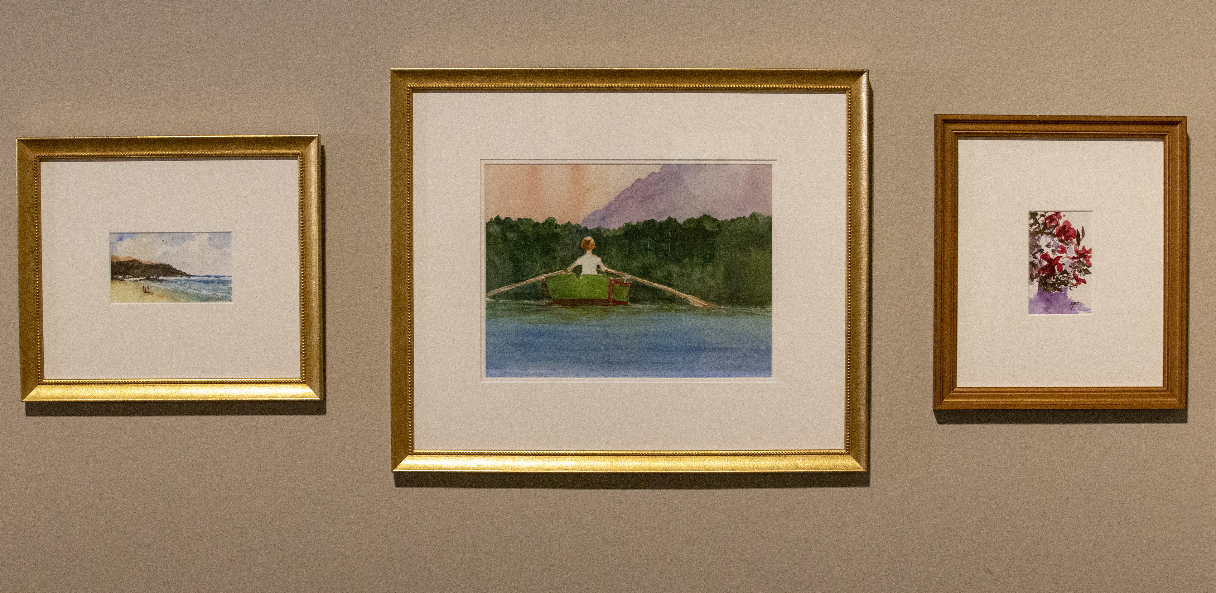 Watercolor paintings by President Henry B. Eyring on display in a special exhibit at the Church History Museum in Salt Lake City.