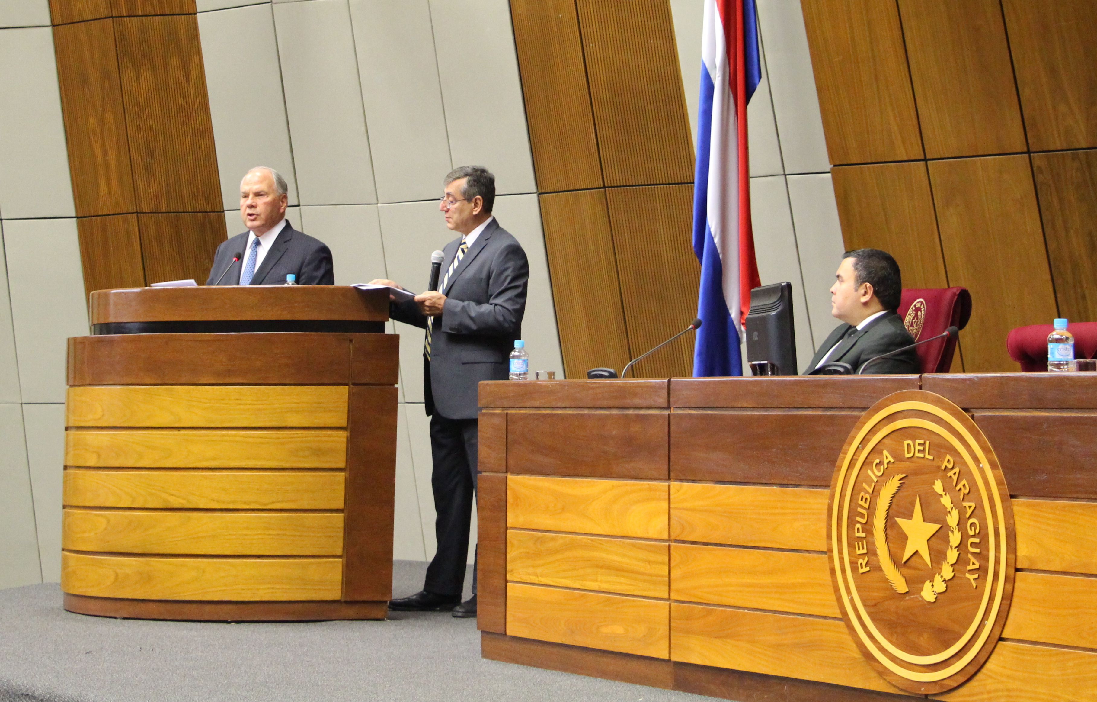 Elder Ronald A. Rasband of the Quorum of the Twelve Apostles, left, gives his keynote address on the pillar of religious freedom and the pillar of the family at the Aug. 30, 2018, Symposium of Strengthening Society Through Strong Families in Asunción, Paraguay. Held at the Palace of Congress and sponsored by the government's Ministry of Education and Sciences, the event drew religious, government and academic leaders for the multi-day seminar.