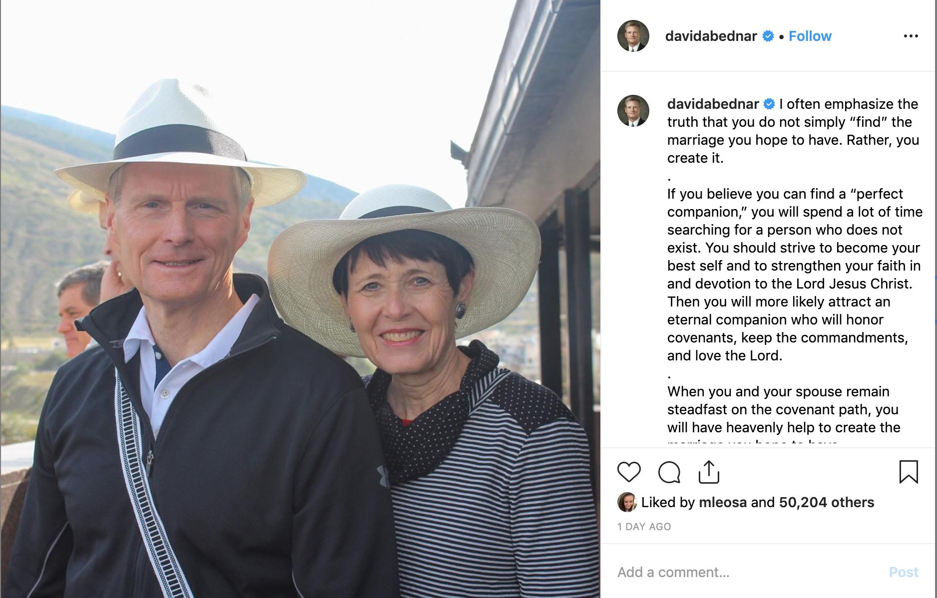 Elder David A. Bednar shares advice on finding an eternal companion, on Wednesday, June 12, 2019.