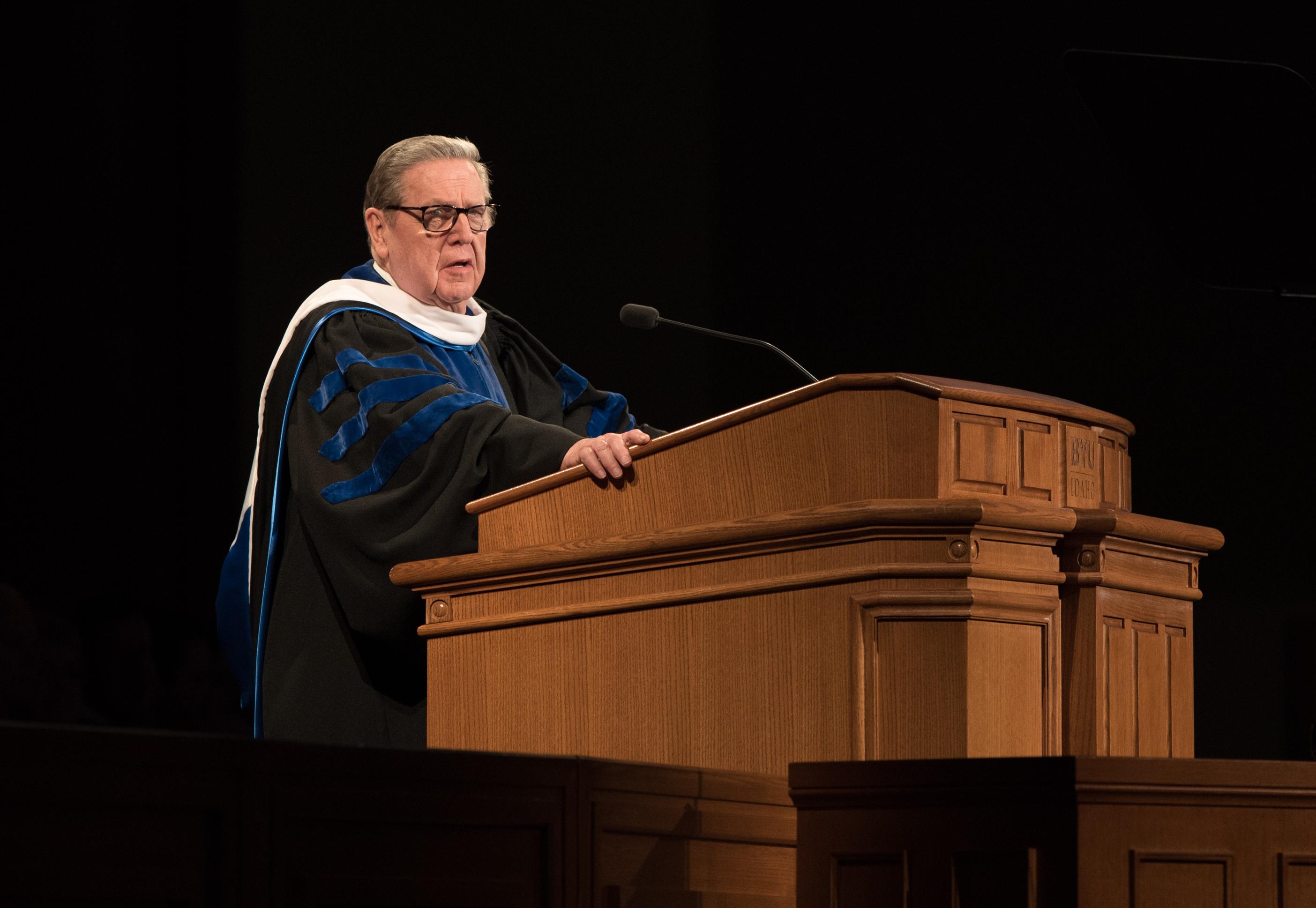 Elder Jeffrey R. Holland speaks at the April 12, 2019, BYU-Idaho Winter Commencement.