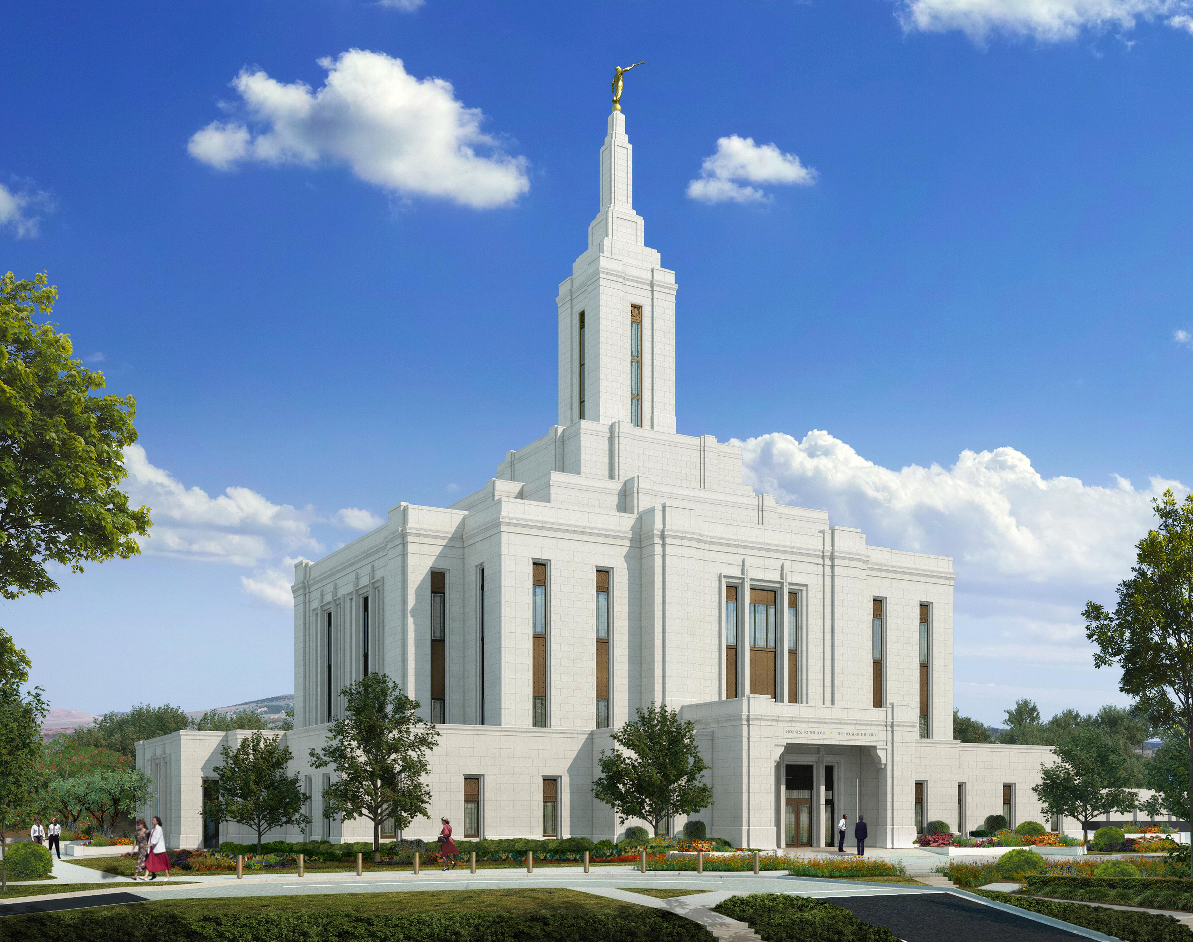 An artist rendering of the Pocatello Idaho Temple.