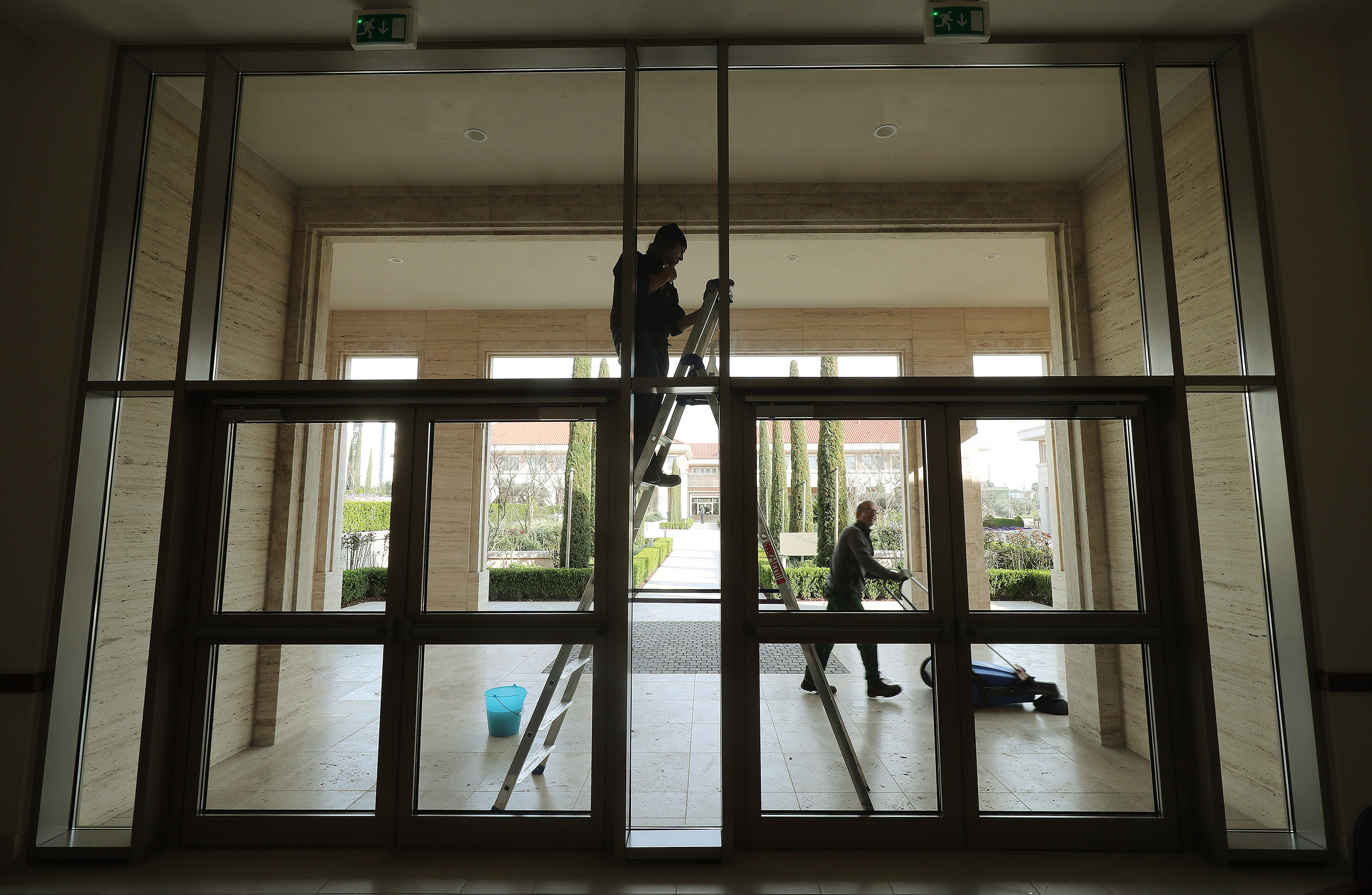 Windows are cleaned in the meetinghouse on the grounds of the Rome Italy Temple of The Church of Jesus Christ of Latter-day Saints on Friday, March 8, 2019 in preparation for the temple's upcoming dedication.
