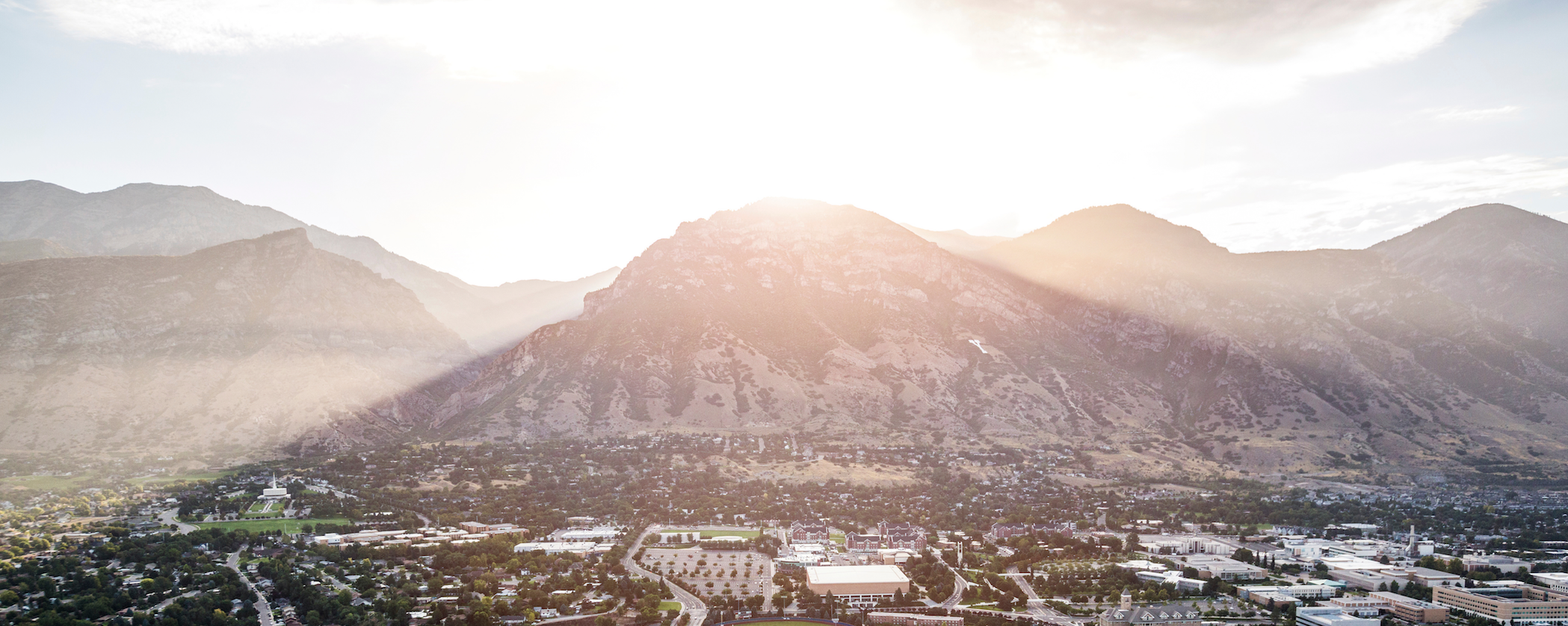 Aerial view of Brigham Young University Campus looking east.