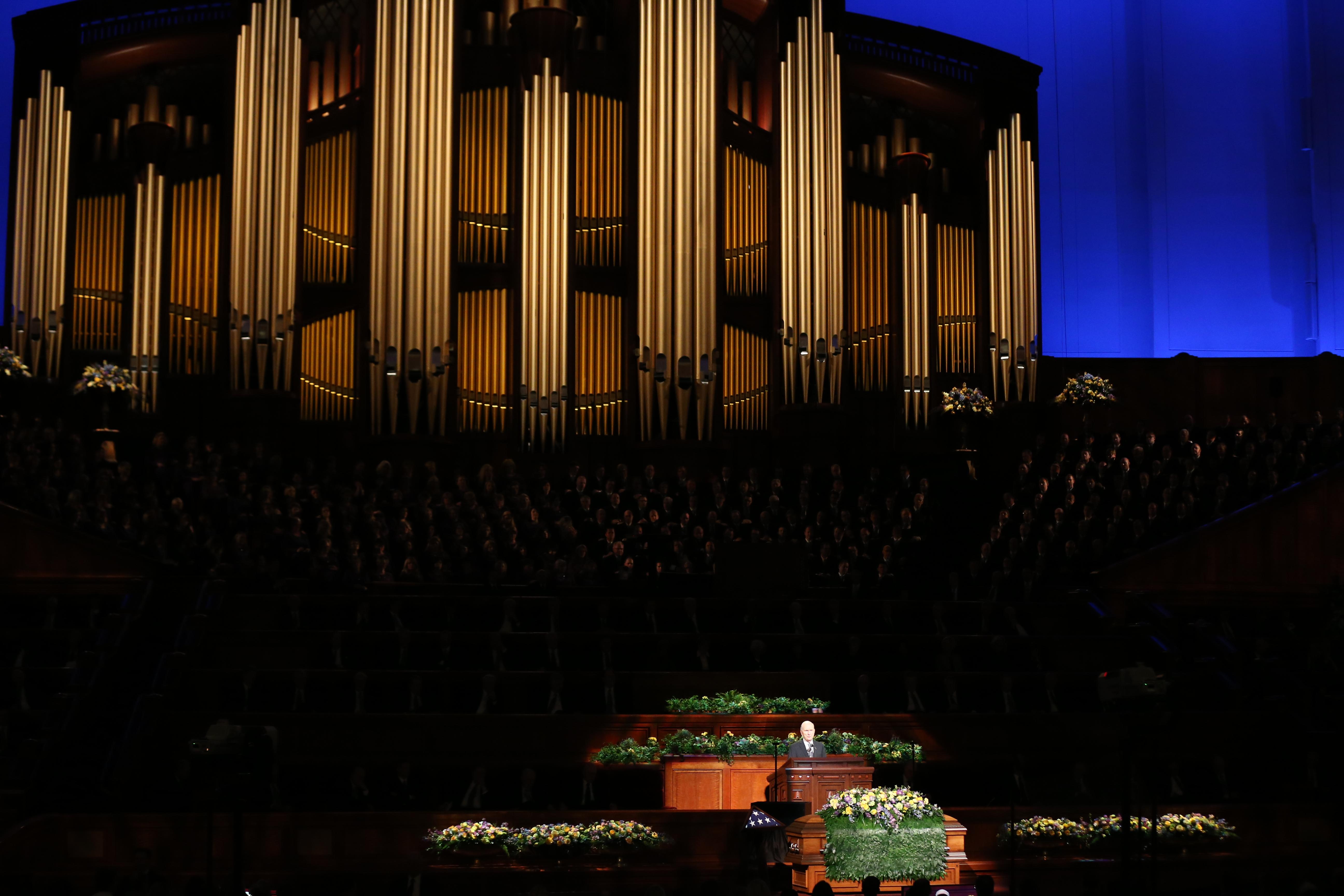 President Russell M. Nelson, president of the Church's Quorum of the Twelve Apostles, speaks at President Thomas S. Monson's funeral at the Conference Center in Salt Lake City on Friday, Jan. 12, 2018.