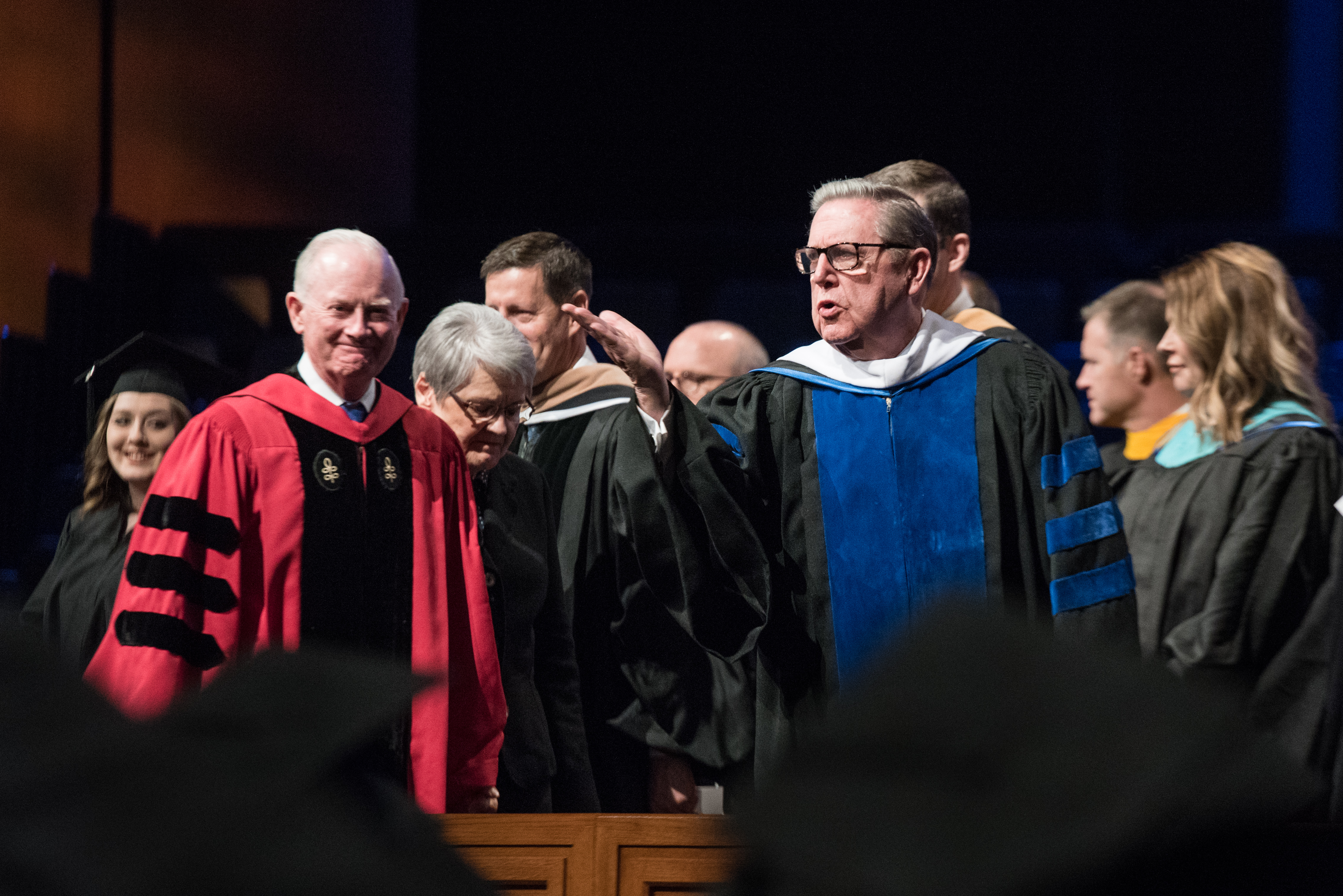 Elder Jeffrey R. Holland bids farewell to the graduates following the April 12, 2019, Winter Commencement at BYU-Idaho.