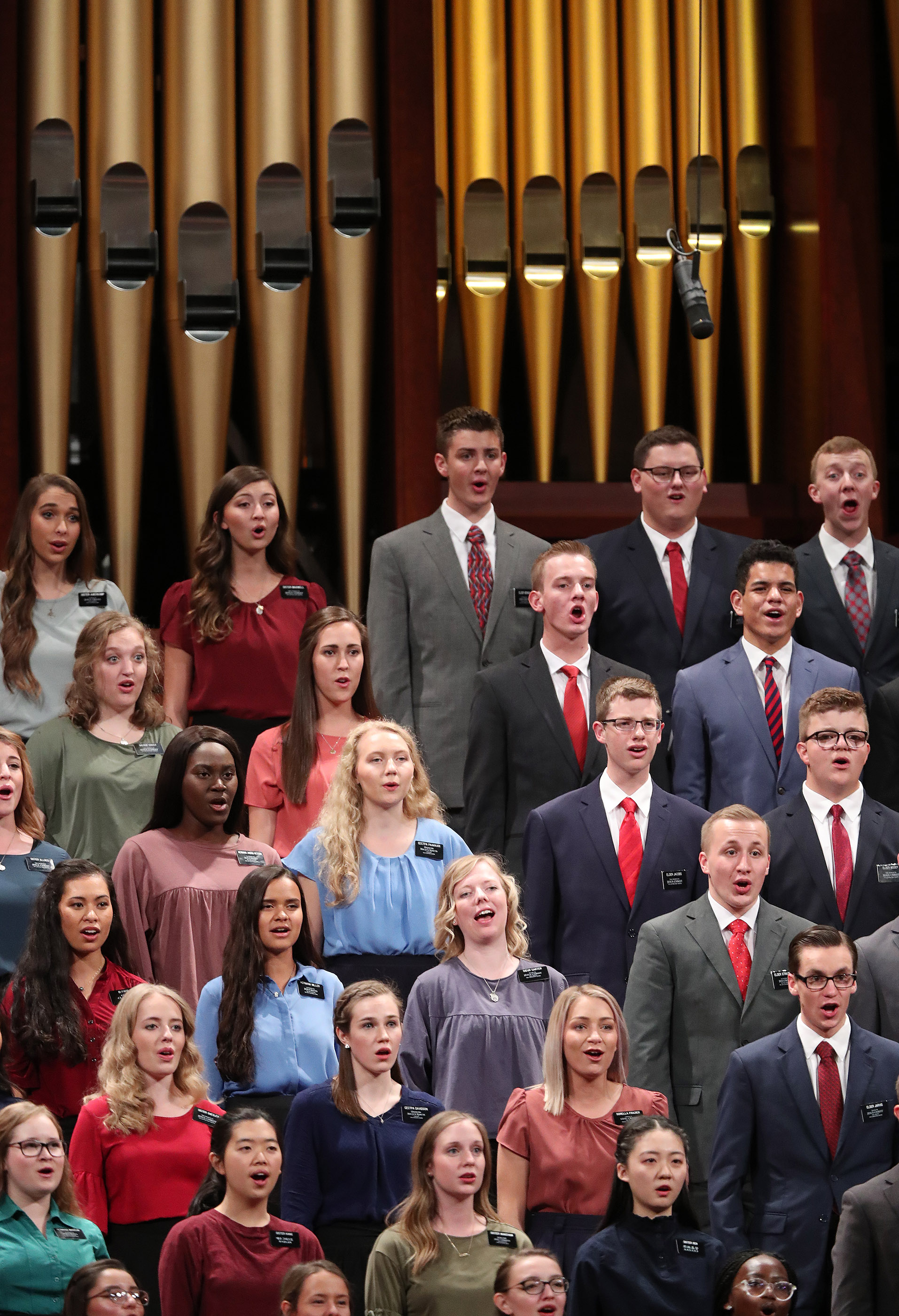 A combined missionary choir sings during the Saturday afternoon session of the 188th Semiannual General Conference of The Church of Jesus Christ of Latter-day Saints in the Conference Center in Salt Lake City on Saturday, Oct. 6, 2018.
