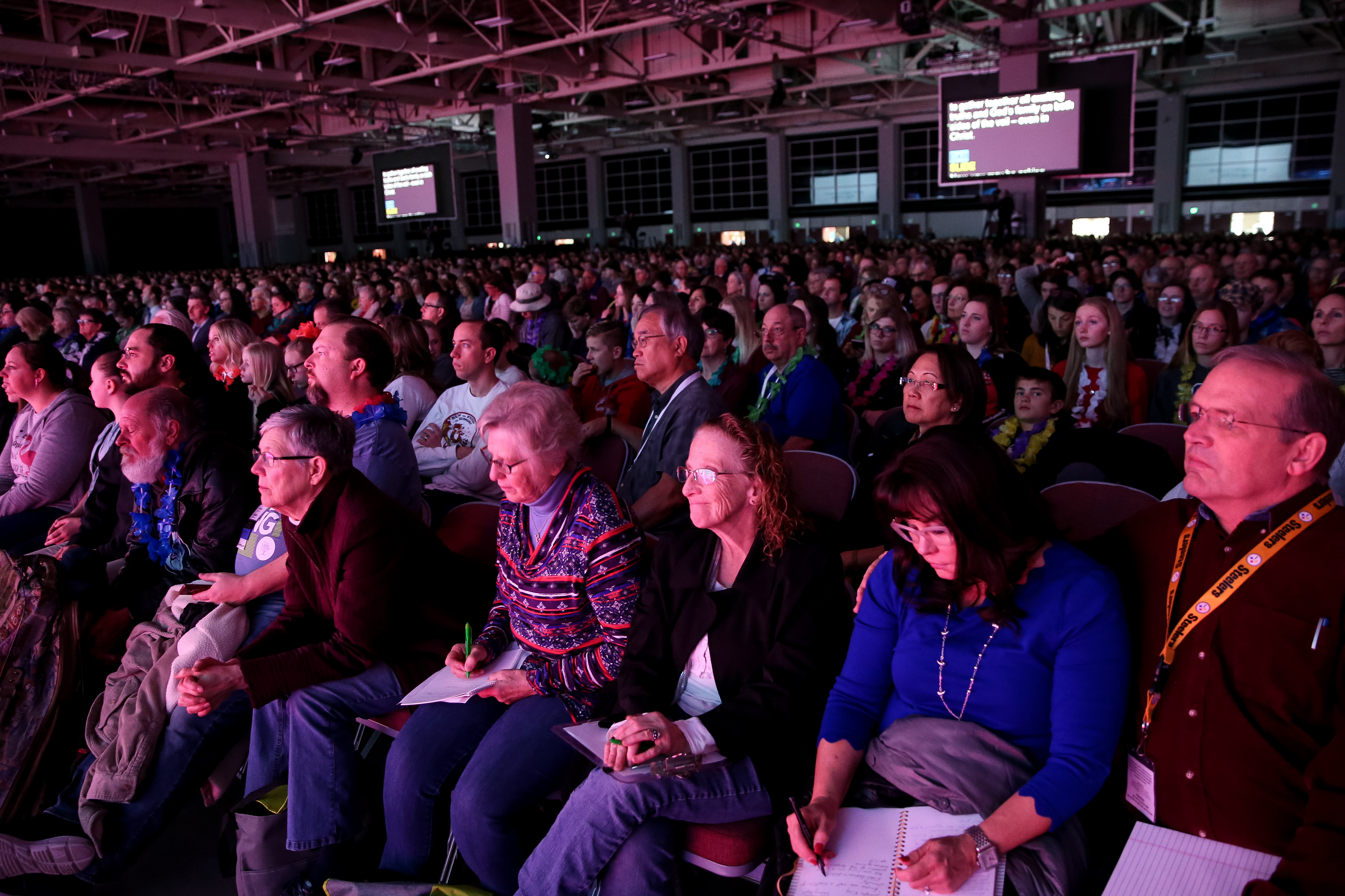 People listen as Elder David A. Bednar of the Quorum of The Twelve Apostles and his wife, Sister Susan Bednar, speak during the RootsTech conference at the Salt Palace in Salt Lake City on Saturday, March 2, 2019.