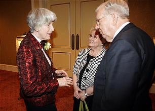 Pamela Atkinson talks with Elder M. Russell Ballard and wife Geraldine in Salt Lake City Thursday, May 3, 2012.