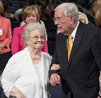 Sister Barbara Bowen Ballard and Elder M. Russell Ballard during BYU Women's Conference in Marriott Center on May 1, 2015.
