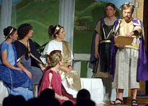 """Roland Schiffler, right as Theseus, and cast members perform in Salt Lake Wilford Stake's presentation of """"A Midsummer Night's Dream."""""""