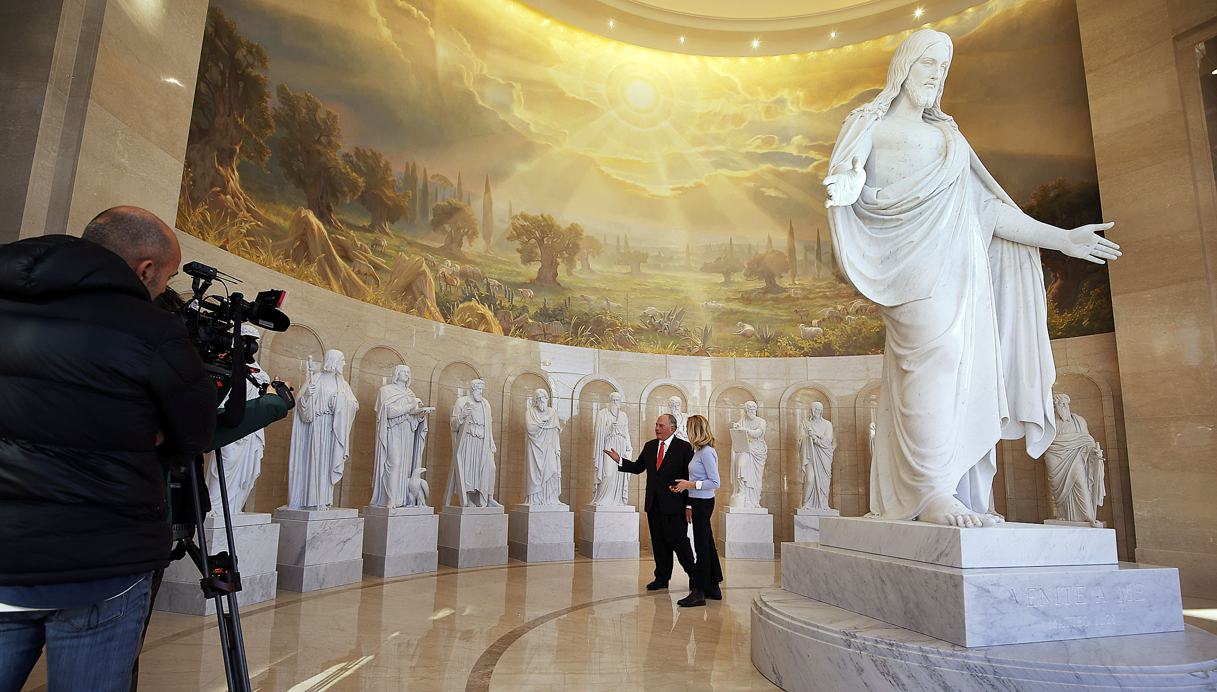 Elder Ronald A. Rasband is interviewed by CNN correspondent Delia Gallagher in the Rome Temple Visitors' Center of The Church of Jesus Christ of Latter-day Saints on Monday, Jan. 14, 2019.