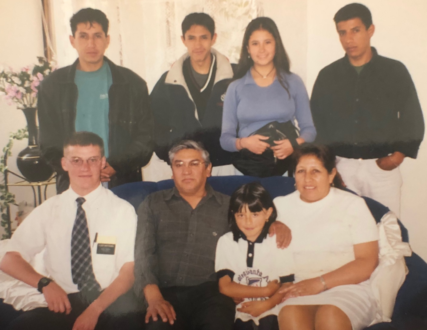 Elder Scott Mortensen (front left) with the Perez Quiroz family when he taught them in Sucre, Bolivia 20 years ago.