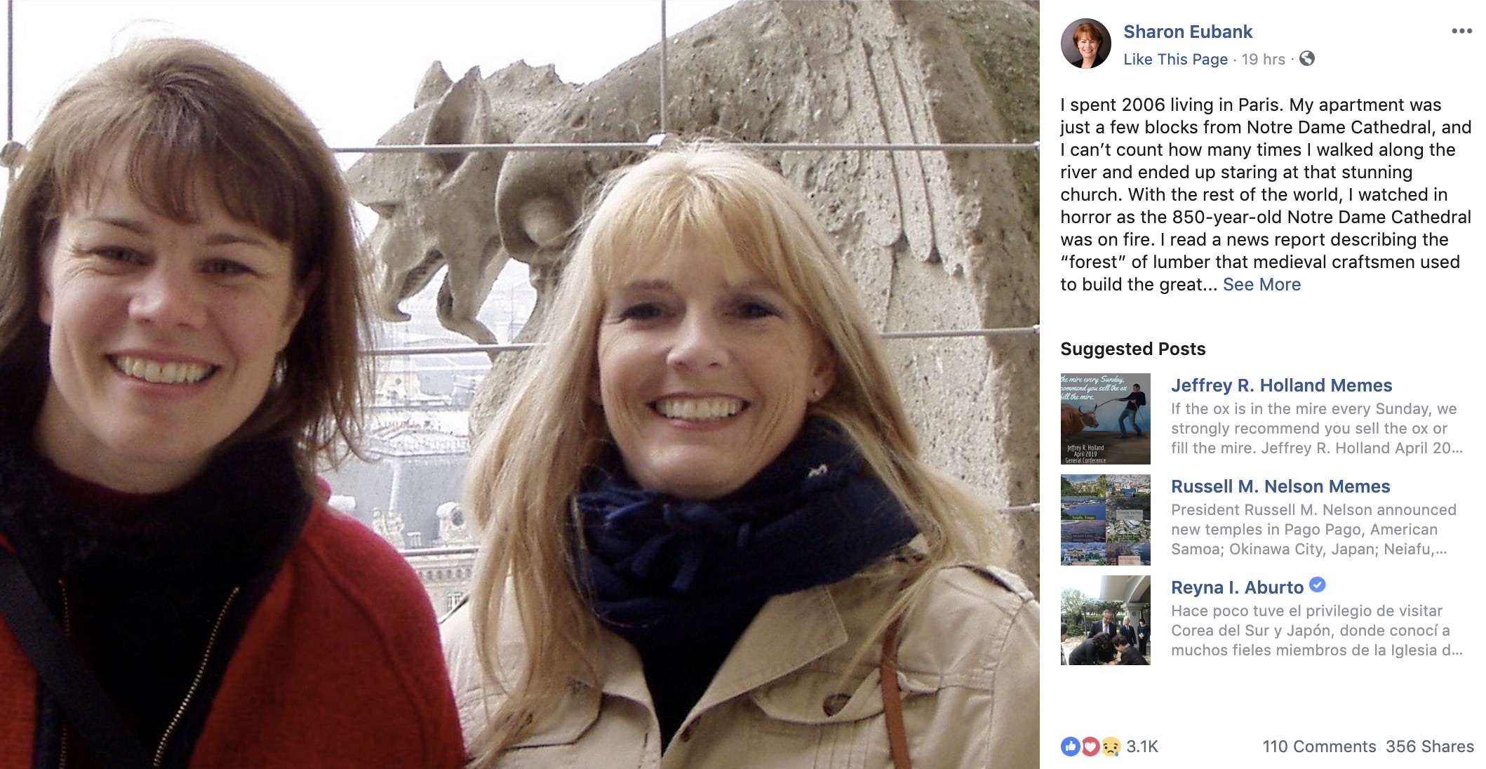 Sister Sharon Eubank shared a post on Facebook about the time she spent living in Paris in 2006.