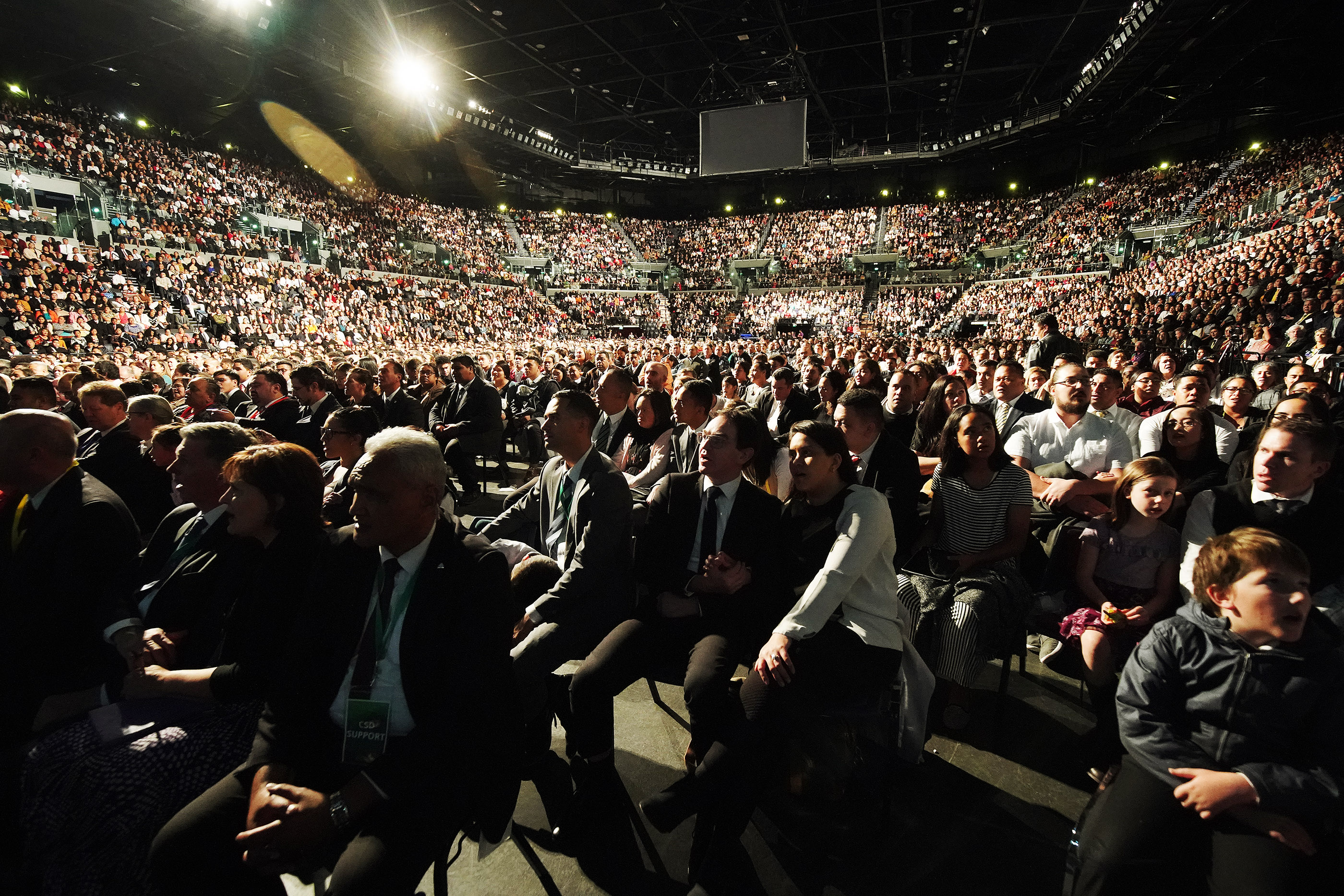 Attendees listen as President Russell M. Nelson of The Church of Jesus Christ of Latter-day Saints speaks at Spark Arena in Auckland, New Zealand on May 21, 2019.
