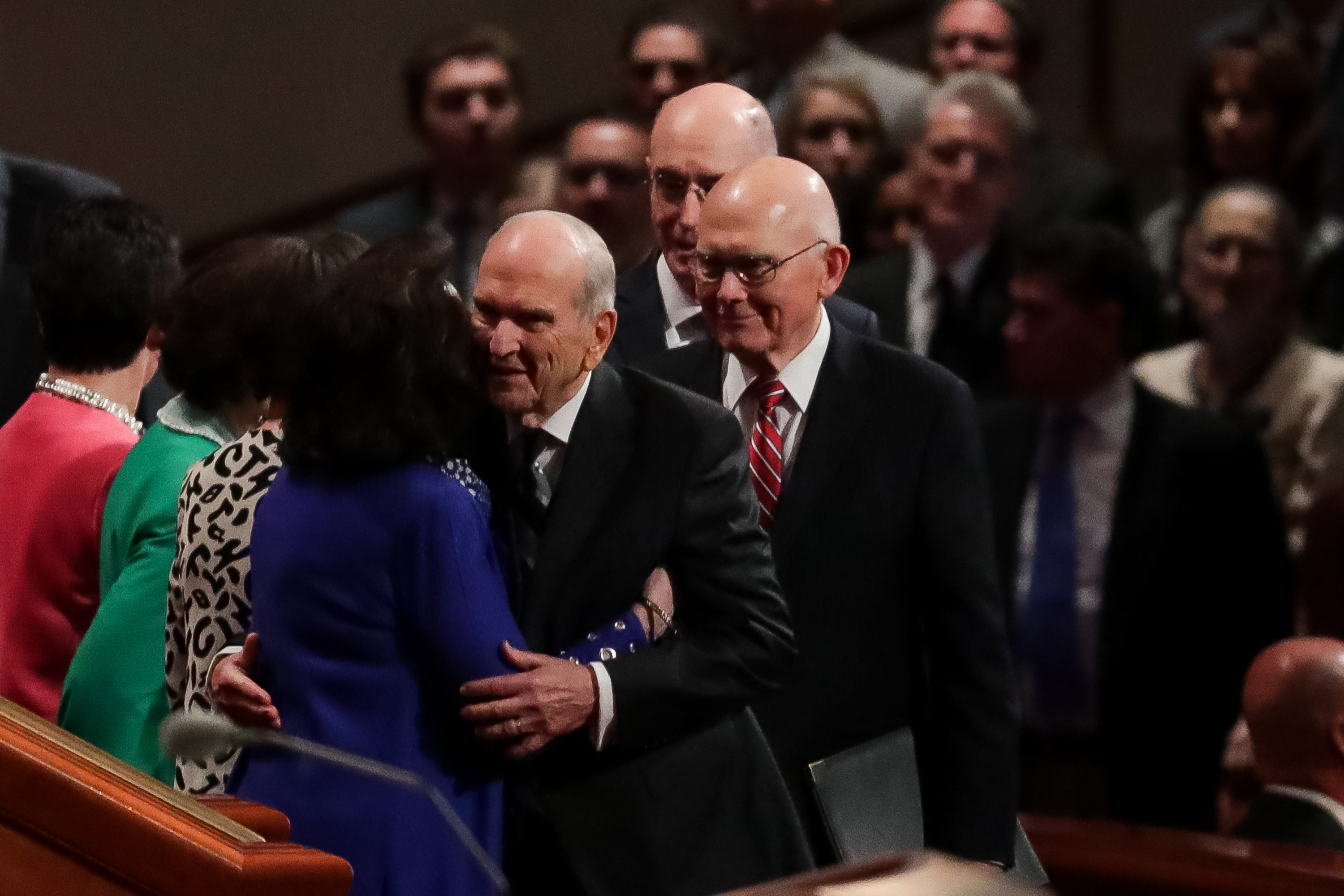 General authorities arrive for the Saturday morning session of the 188th Semiannual General Conference of The Church of Jesus Christ of Latter-day Saints in the Conference Center in Salt Lake City on Saturday, Oct. 6, 2018.