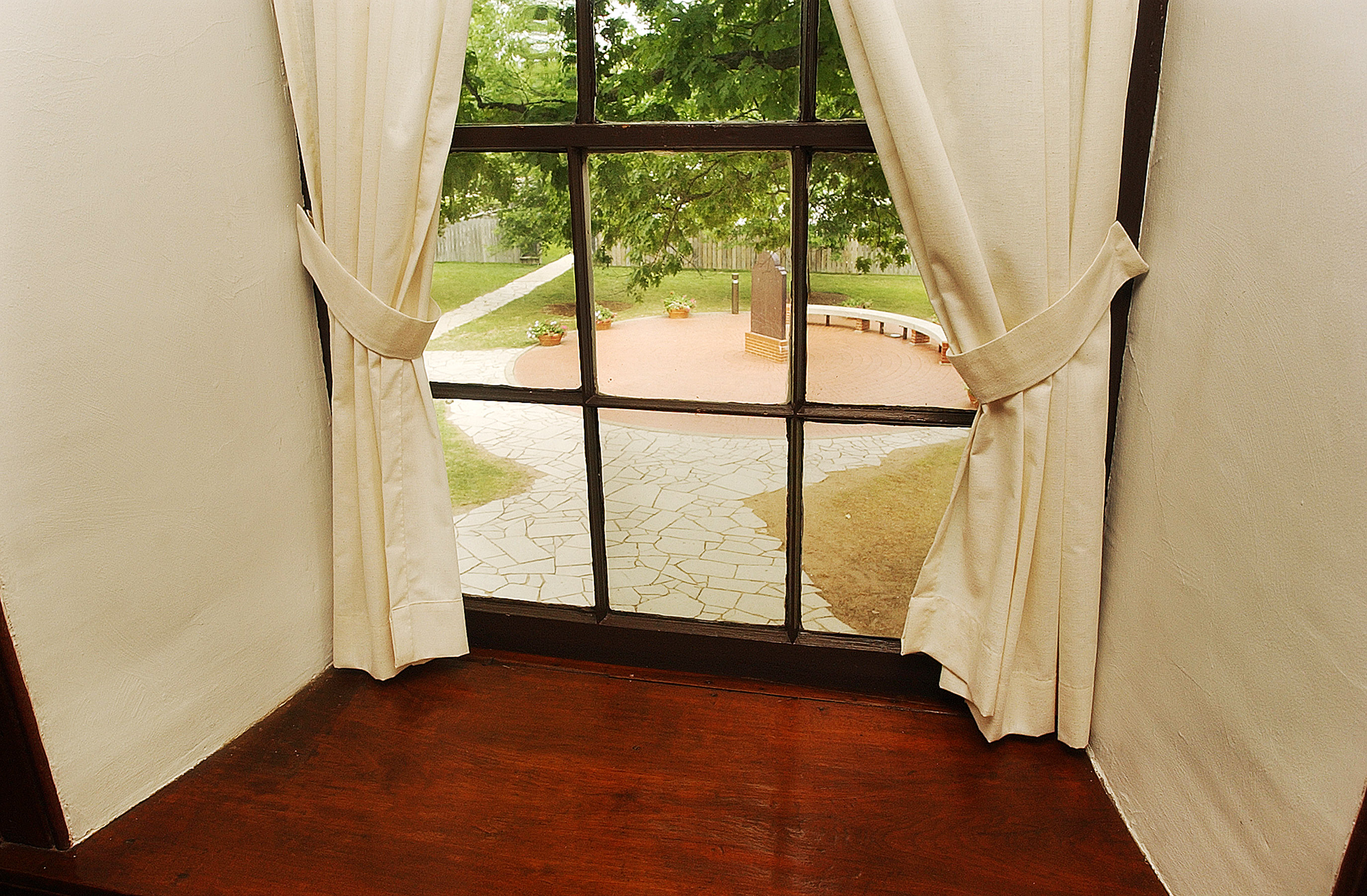 The Carthage jail bedroom window where Joseph Smith fell after being shot. Photographed June 24th, 2002.
