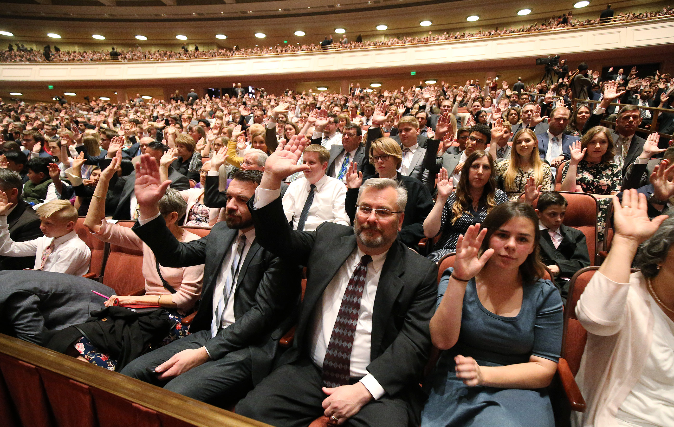 Attendees in the Conference Center sustain leaders the Saturday afternoon session of the 189th Annual General Conference of The Church of Jesus Christ of Latter-day Saints in Salt Lake City on Saturday, April 6, 2019.